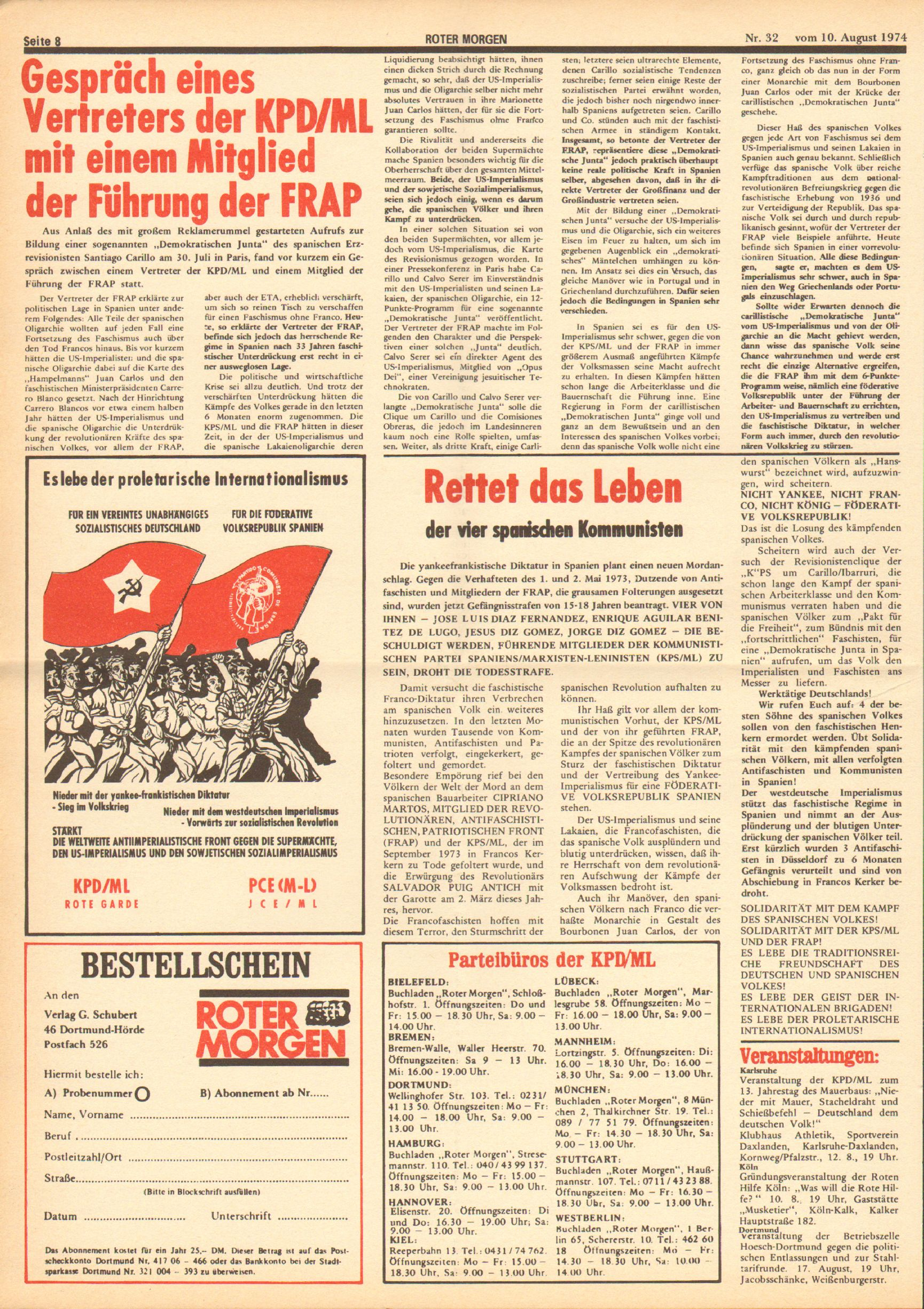 Roter Morgen, 8. Jg., 10. August 1974, Nr. 32, Seite 8