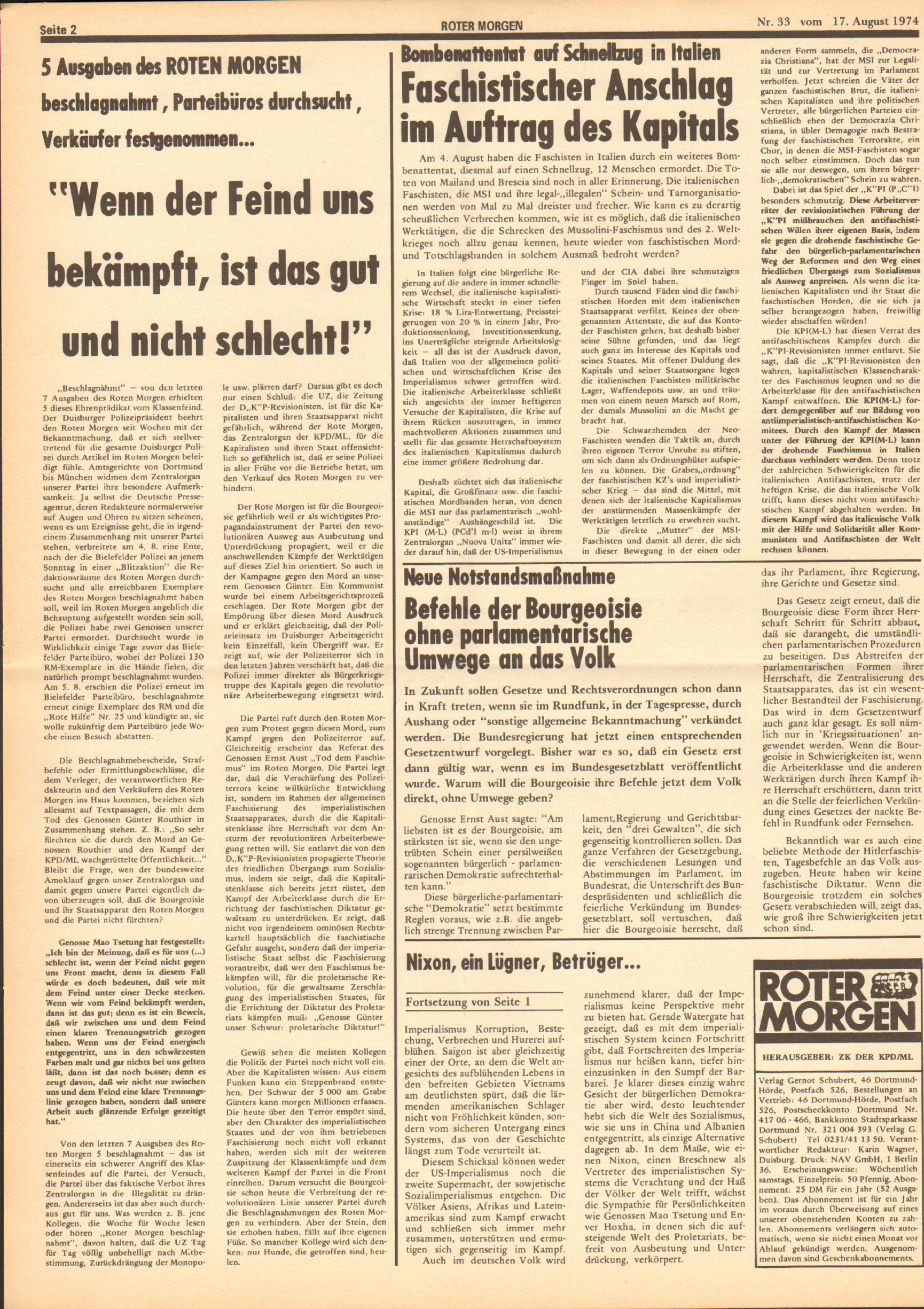 Roter Morgen, 8. Jg., 17. August 1974, Nr. 33, Seite 2