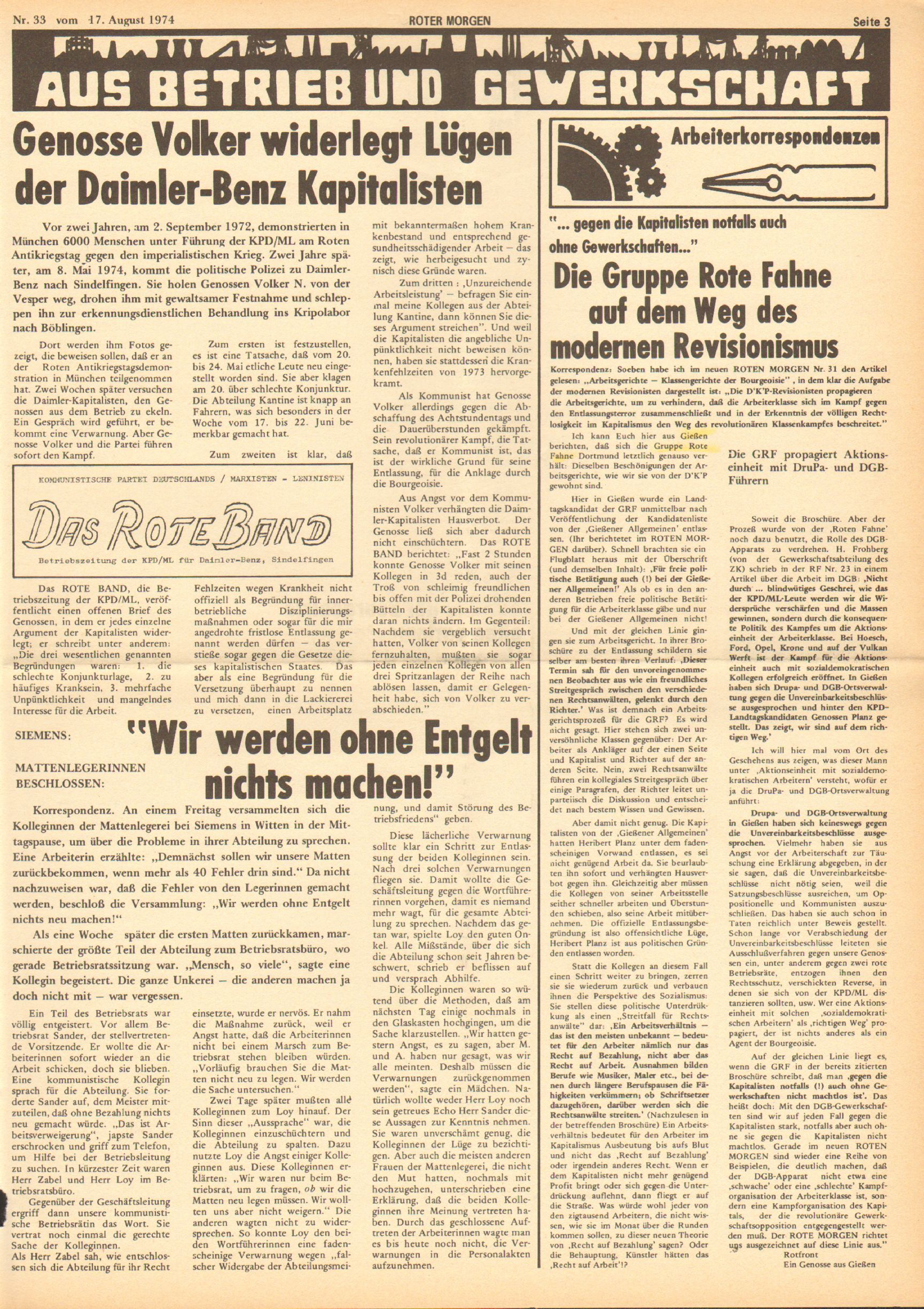 Roter Morgen, 8. Jg., 17. August 1974, Nr. 33, Seite 3