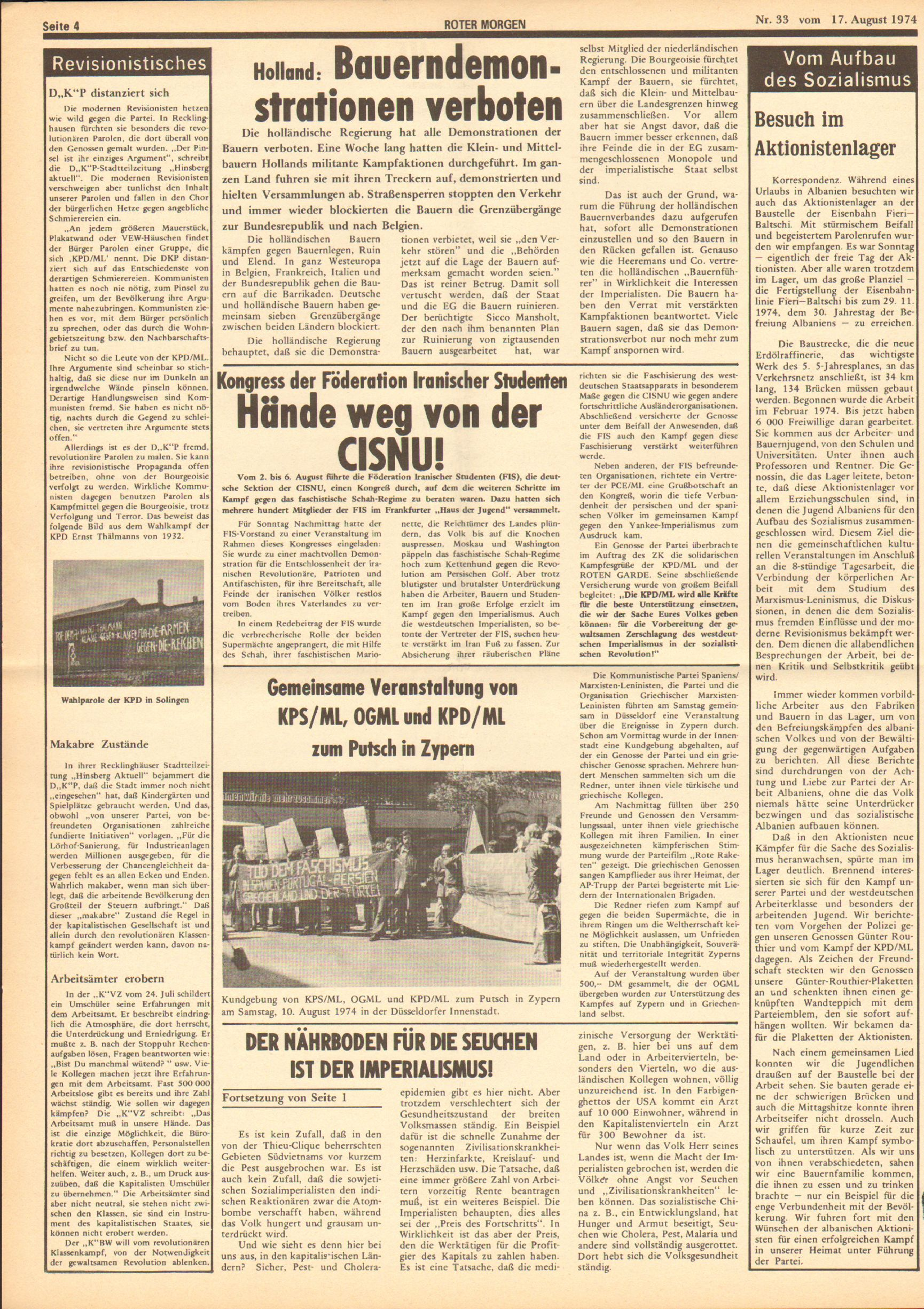 Roter Morgen, 8. Jg., 17. August 1974, Nr. 33, Seite 4