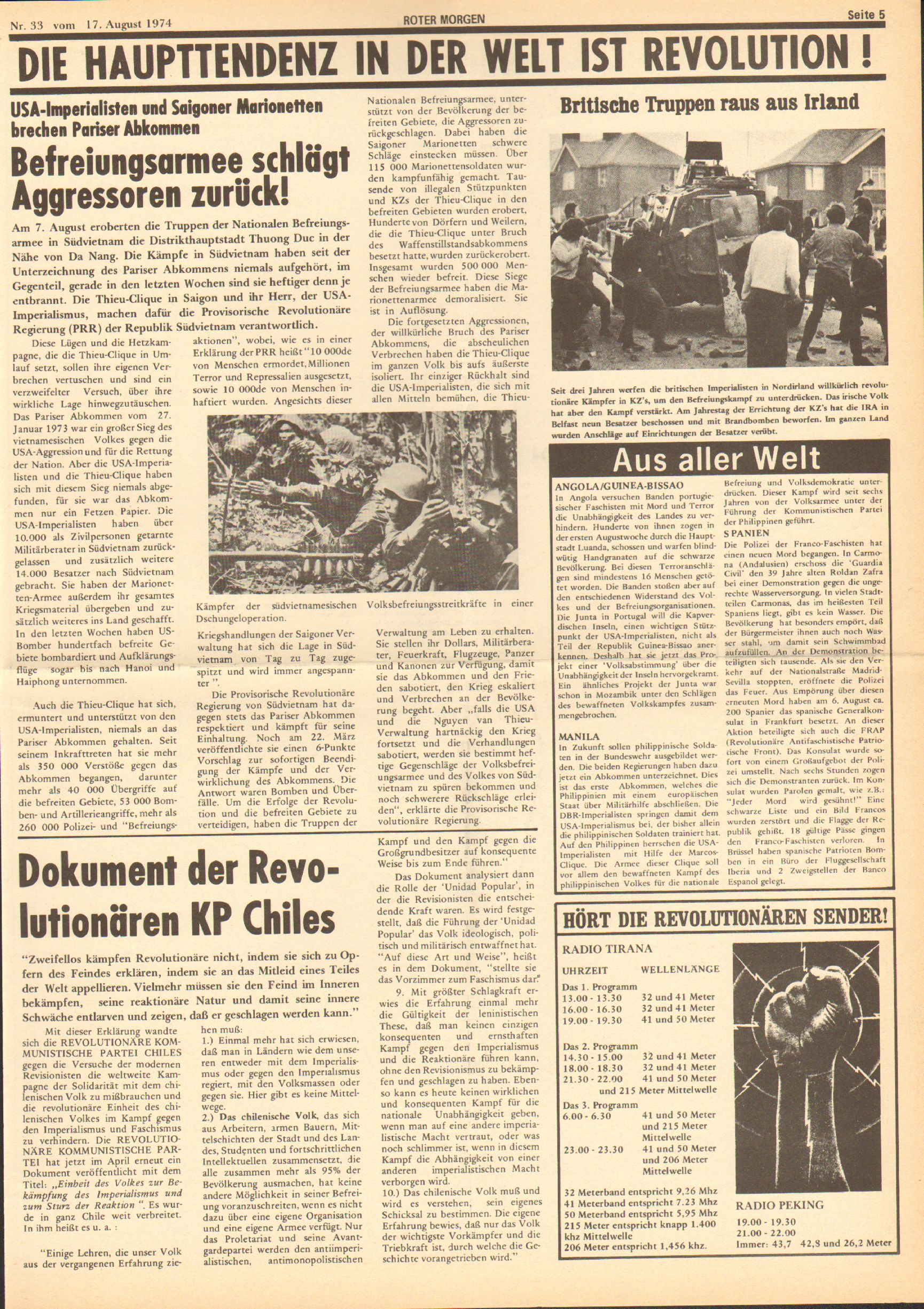 Roter Morgen, 8. Jg., 17. August 1974, Nr. 33, Seite 5