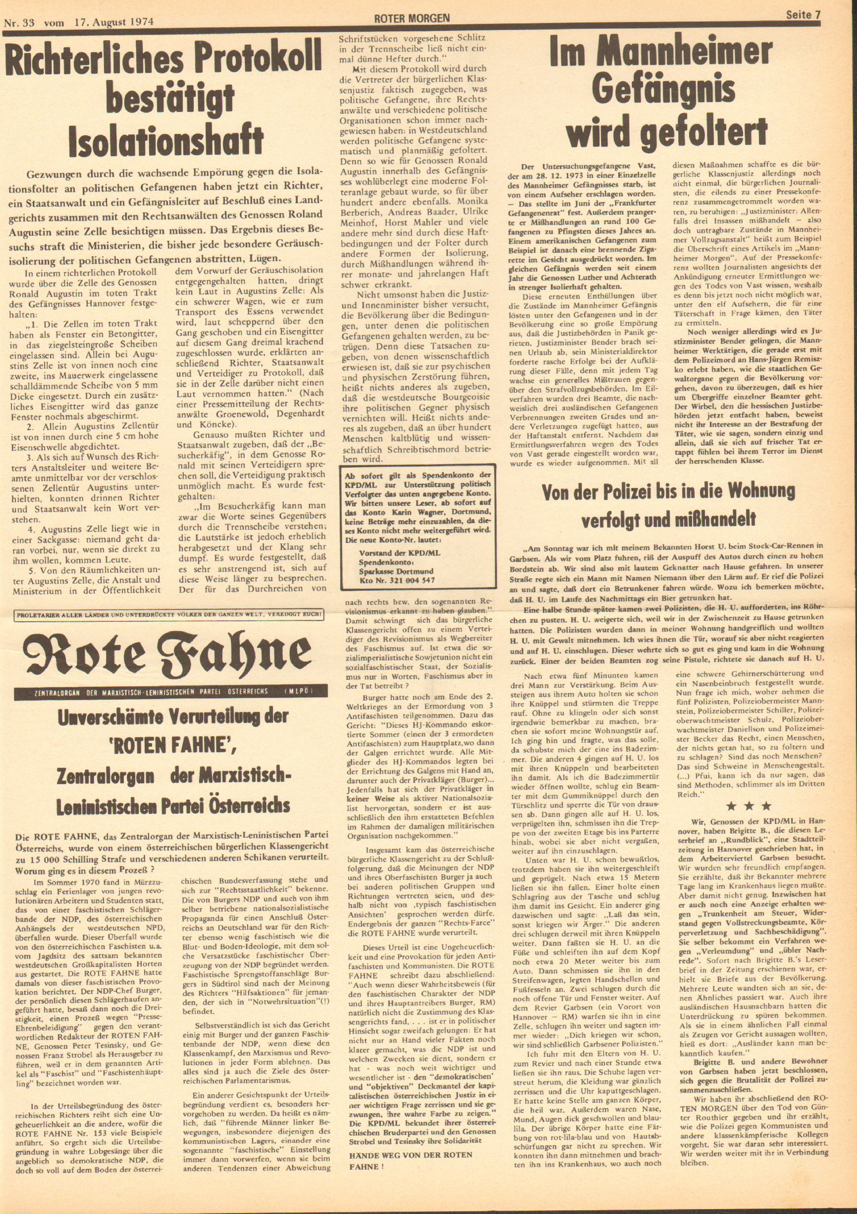 Roter Morgen, 8. Jg., 17. August 1974, Nr. 33, Seite 7