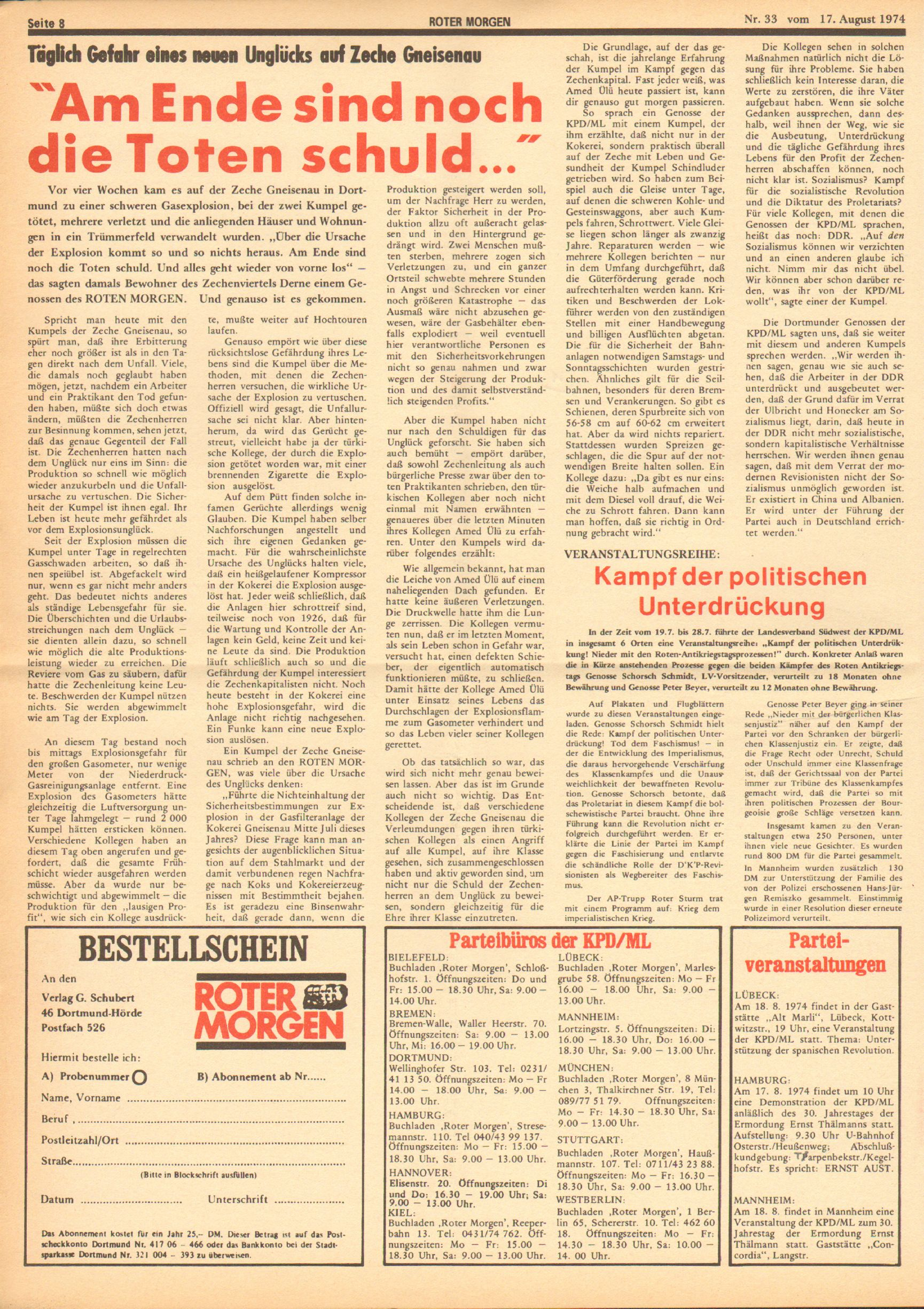 Roter Morgen, 8. Jg., 17. August 1974, Nr. 33, Seite 8
