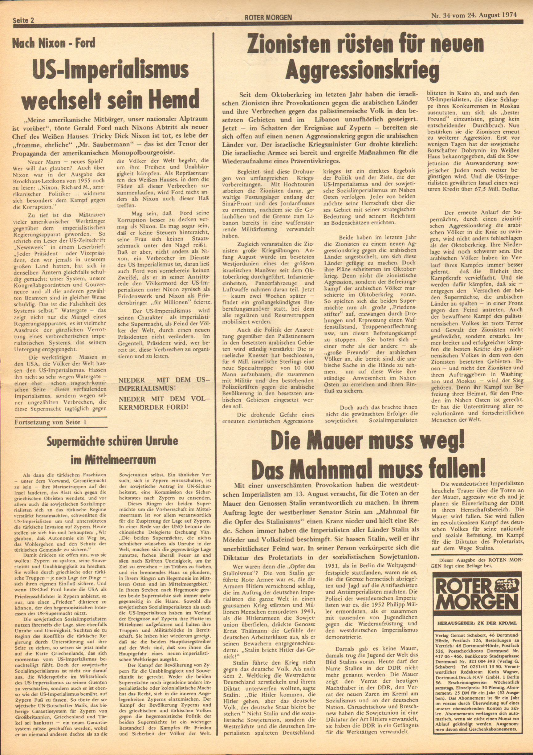 Roter Morgen, 8. Jg., 24. August 1974, Nr. 34, Seite 2