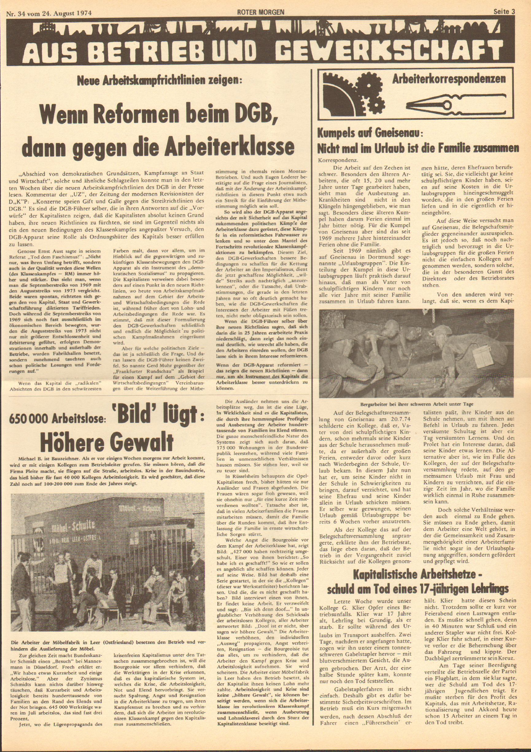 Roter Morgen, 8. Jg., 24. August 1974, Nr. 34, Seite 3