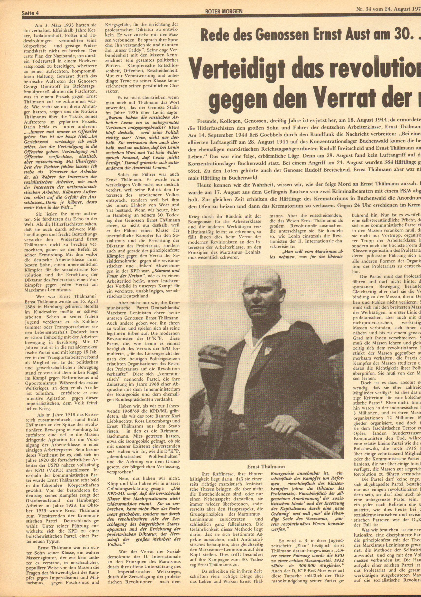 Roter Morgen, 8. Jg., 24. August 1974, Nr. 34, Seite 4