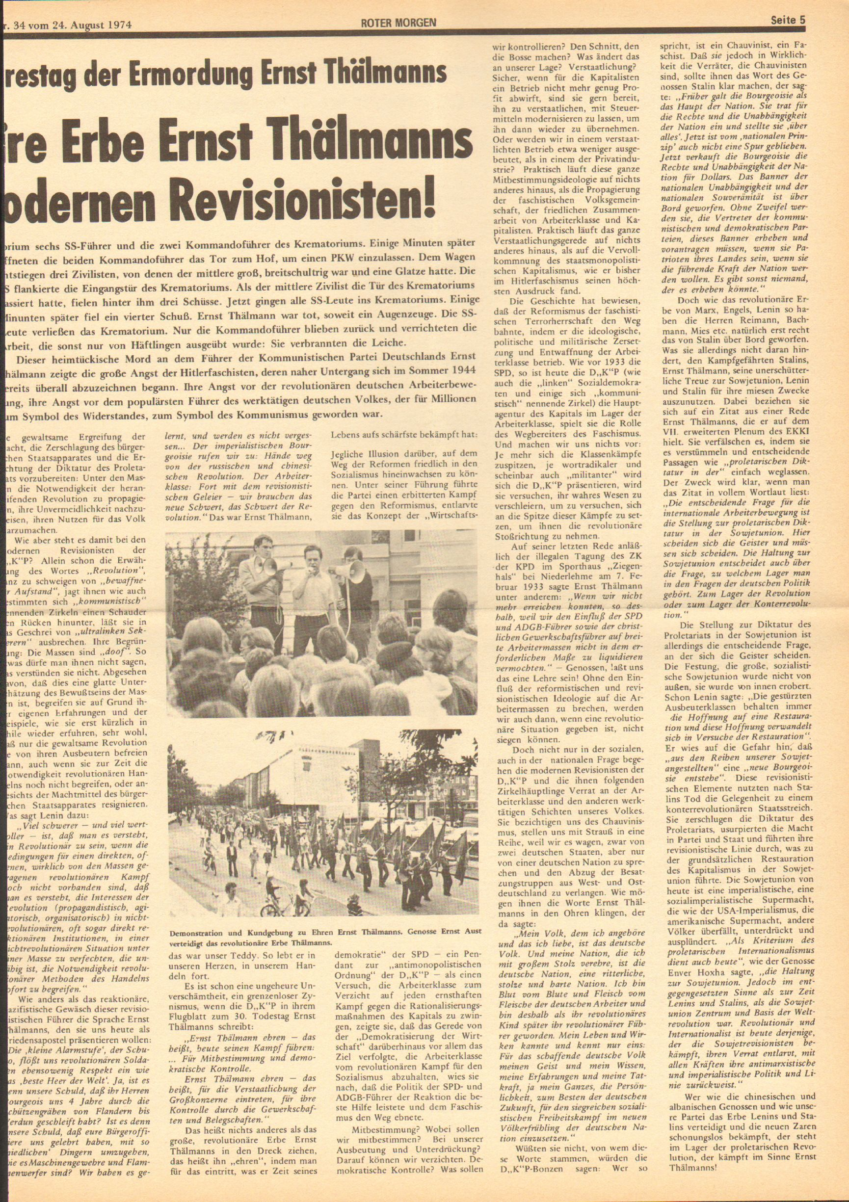 Roter Morgen, 8. Jg., 24. August 1974, Nr. 34, Seite 5