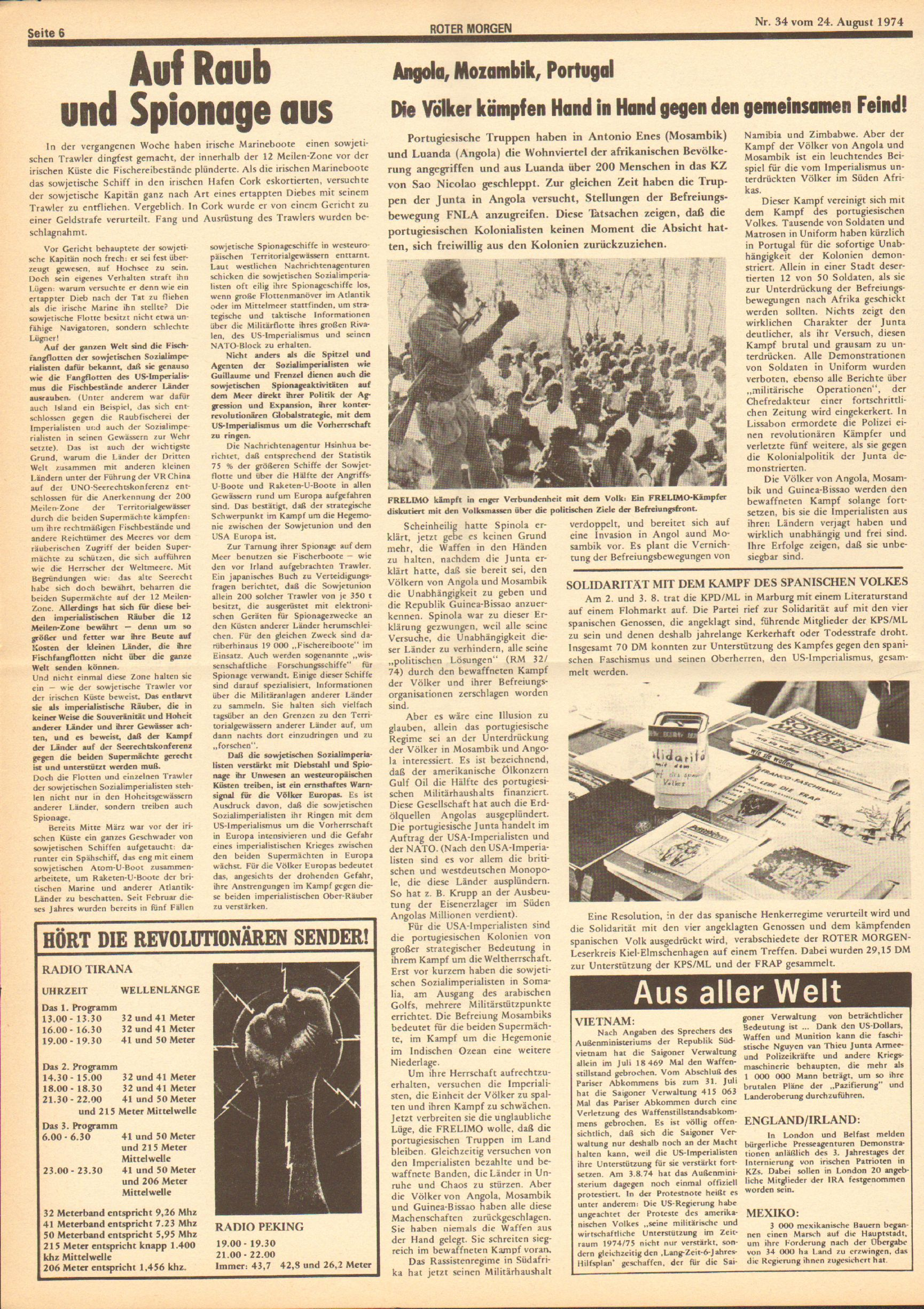Roter Morgen, 8. Jg., 24. August 1974, Nr. 34, Seite 6