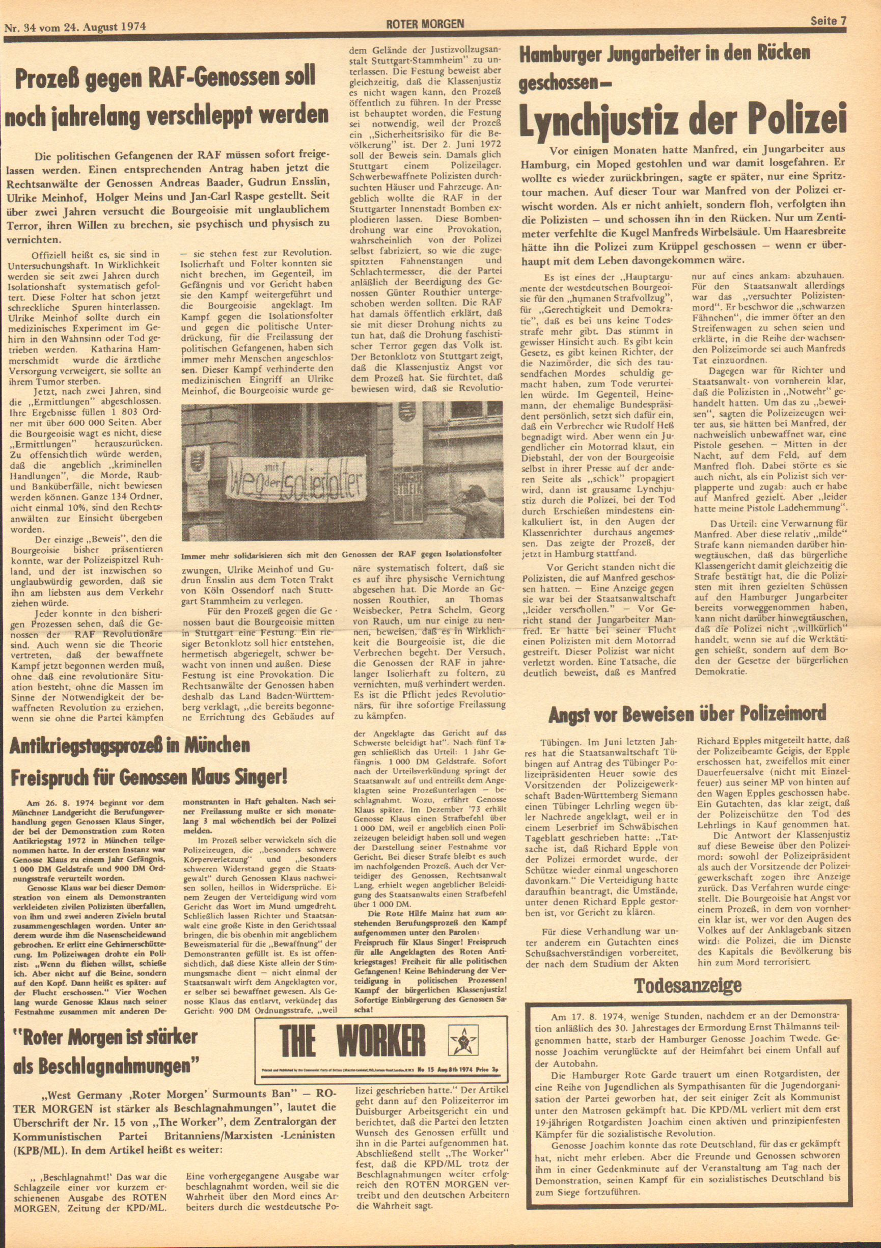 Roter Morgen, 8. Jg., 24. August 1974, Nr. 34, Seite 7
