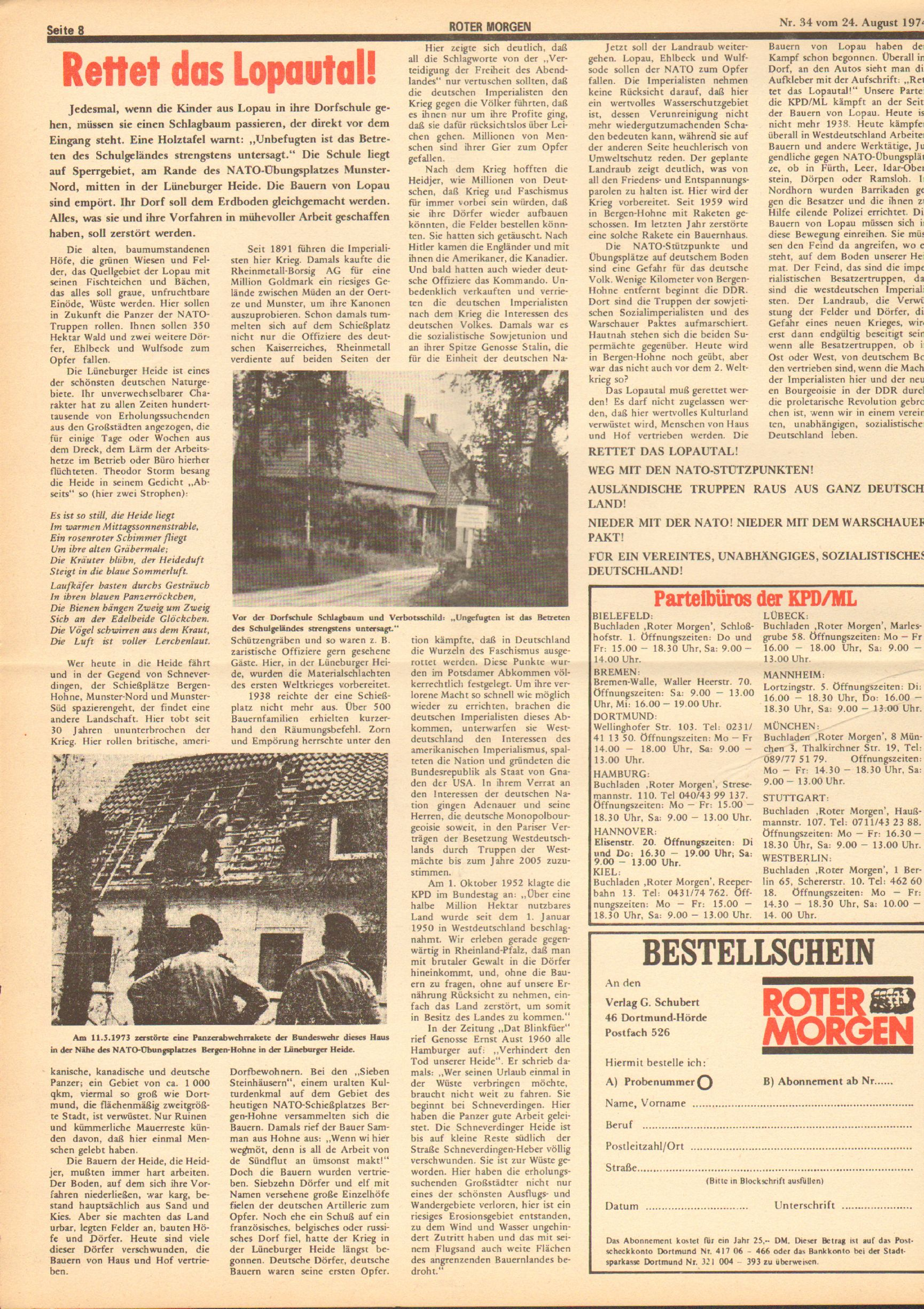 Roter Morgen, 8. Jg., 24. August 1974, Nr. 34, Seite 8