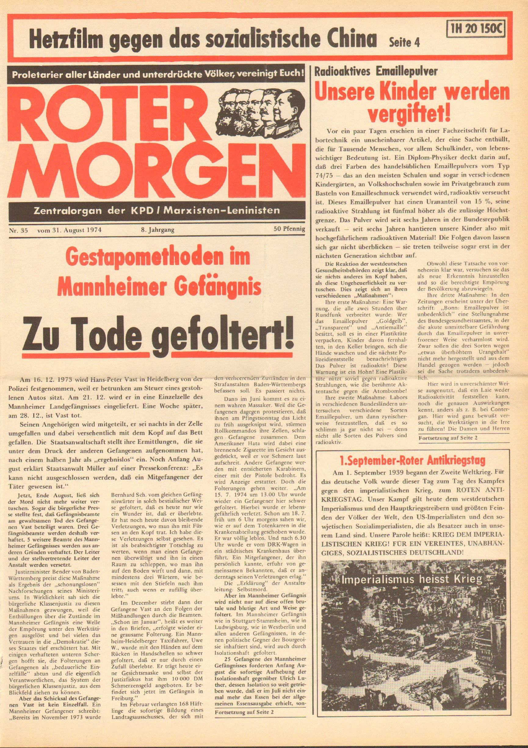 Roter Morgen, 8. Jg., 31. August 1974, Nr. 35, Seite 1