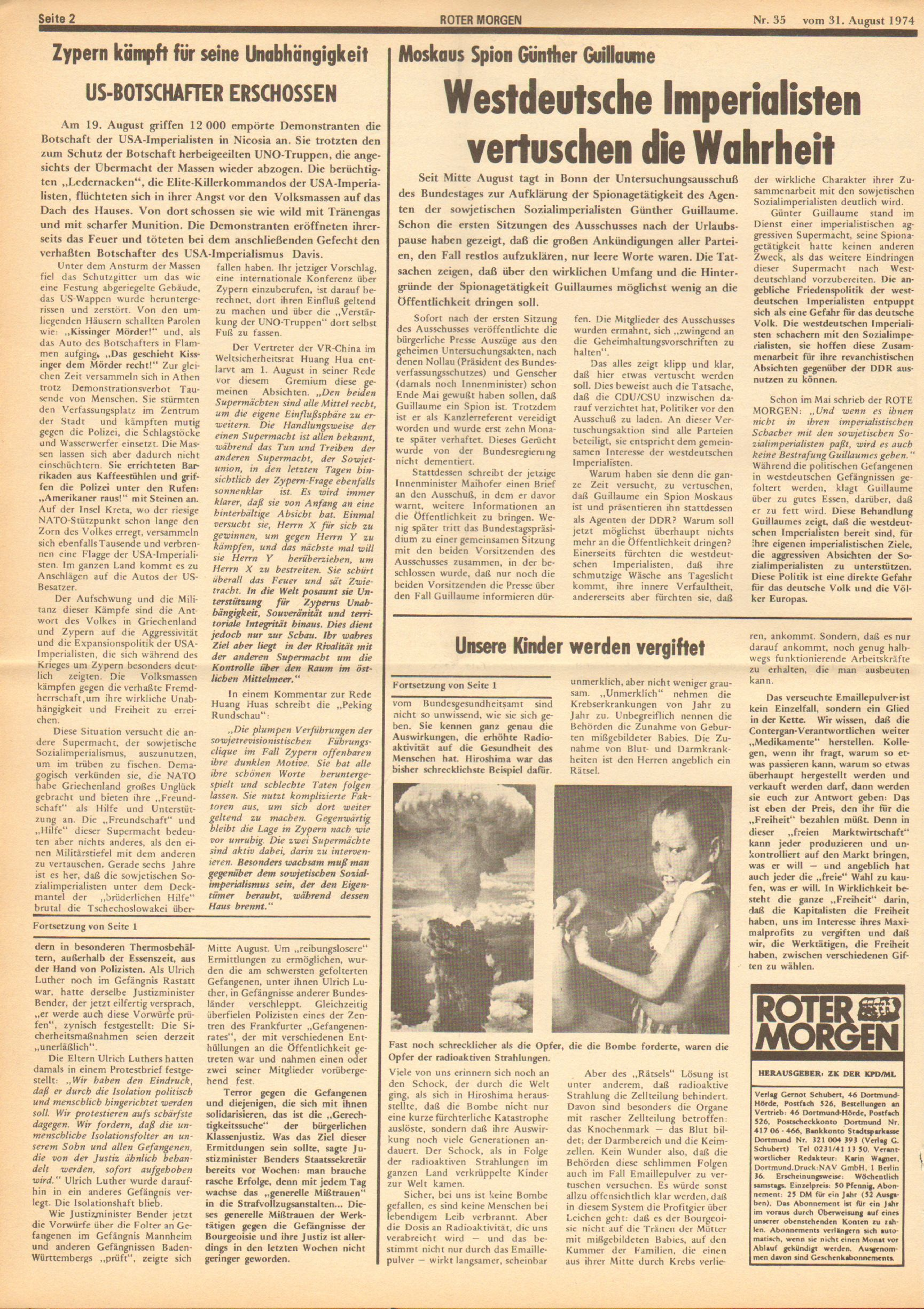Roter Morgen, 8. Jg., 31. August 1974, Nr. 35, Seite 2