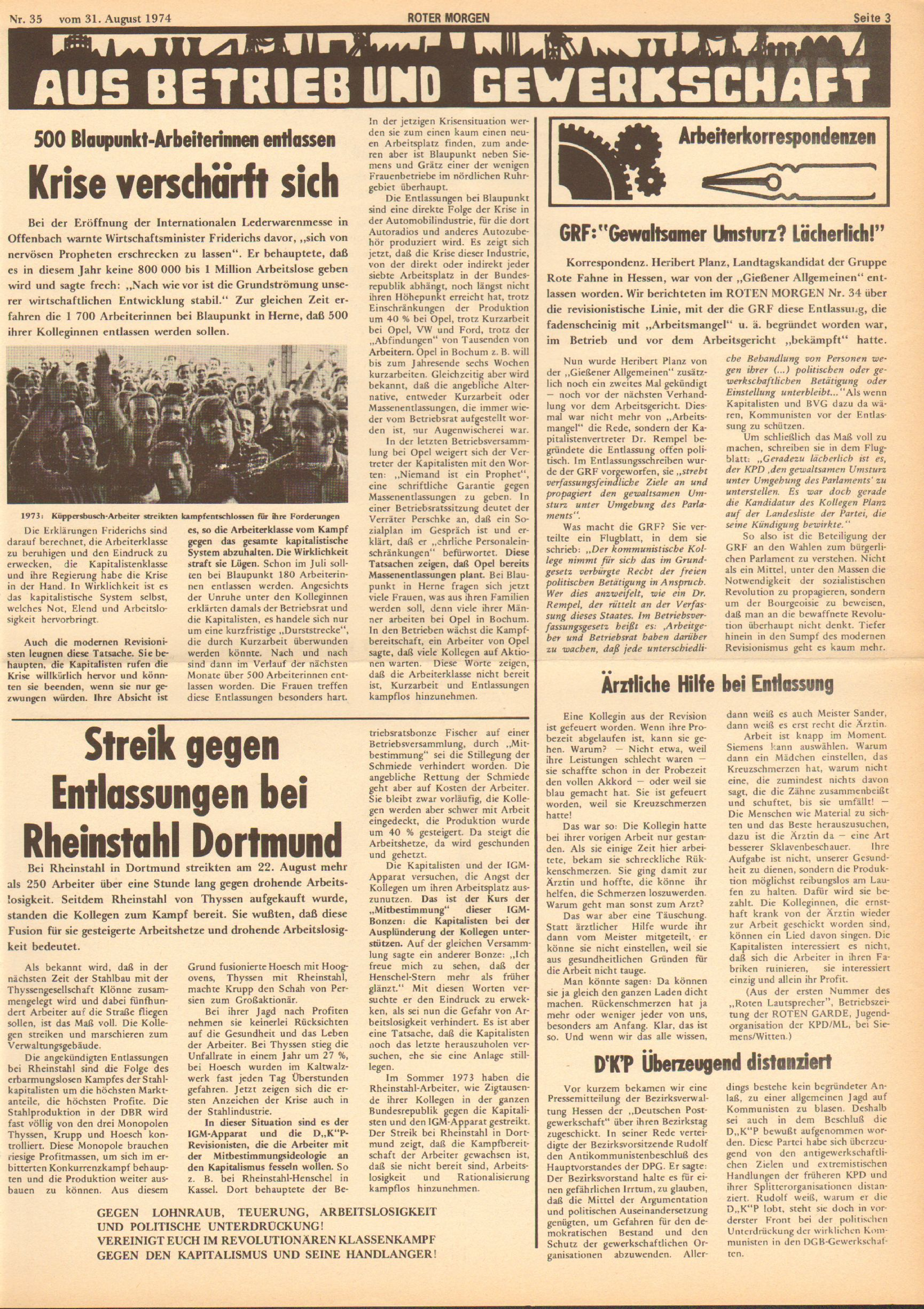 Roter Morgen, 8. Jg., 31. August 1974, Nr. 35, Seite 3
