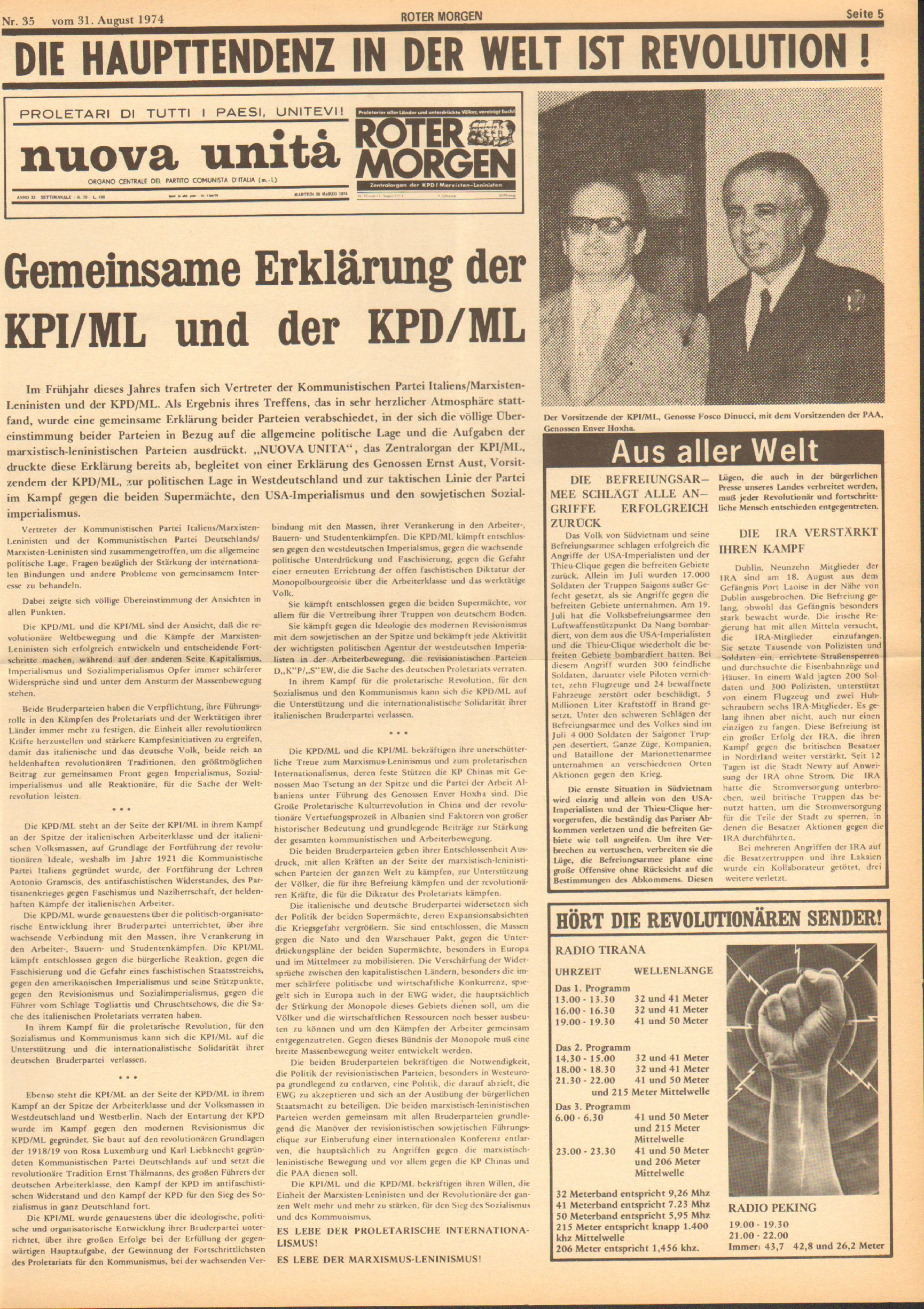 Roter Morgen, 8. Jg., 31. August 1974, Nr. 35, Seite 5