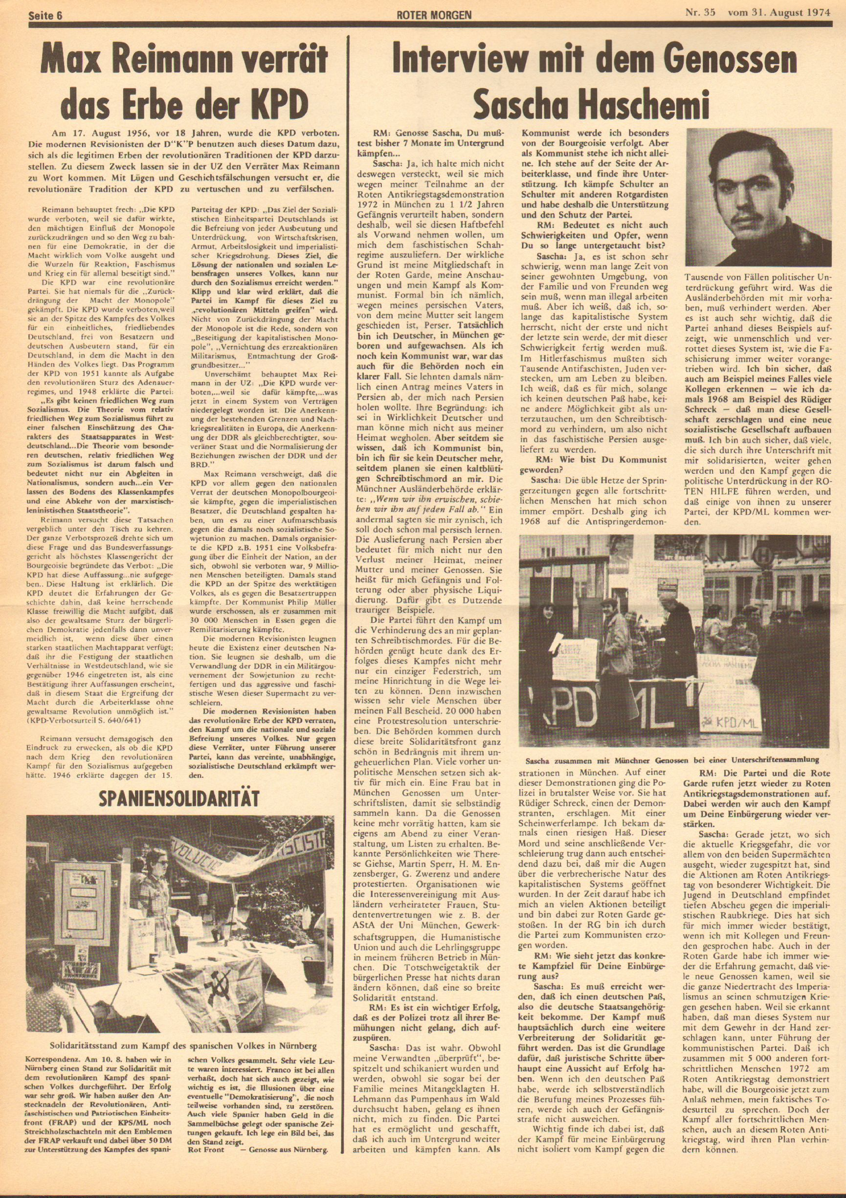 Roter Morgen, 8. Jg., 31. August 1974, Nr. 35, Seite 6