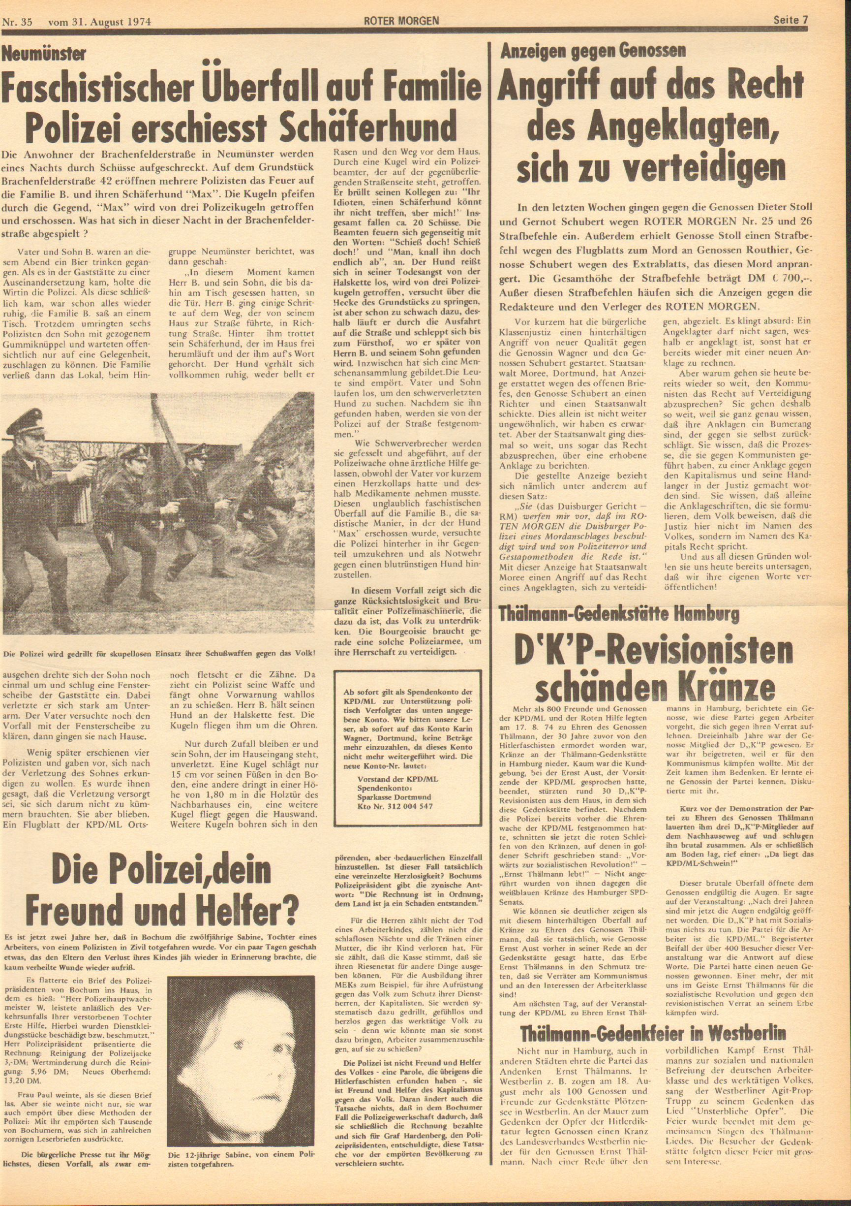 Roter Morgen, 8. Jg., 31. August 1974, Nr. 35, Seite 7