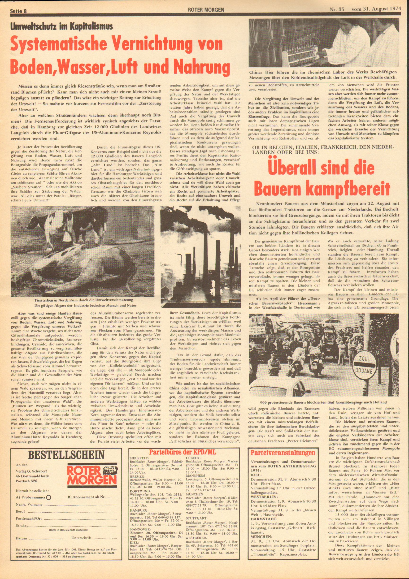Roter Morgen, 8. Jg., 31. August 1974, Nr. 35, Seite 8