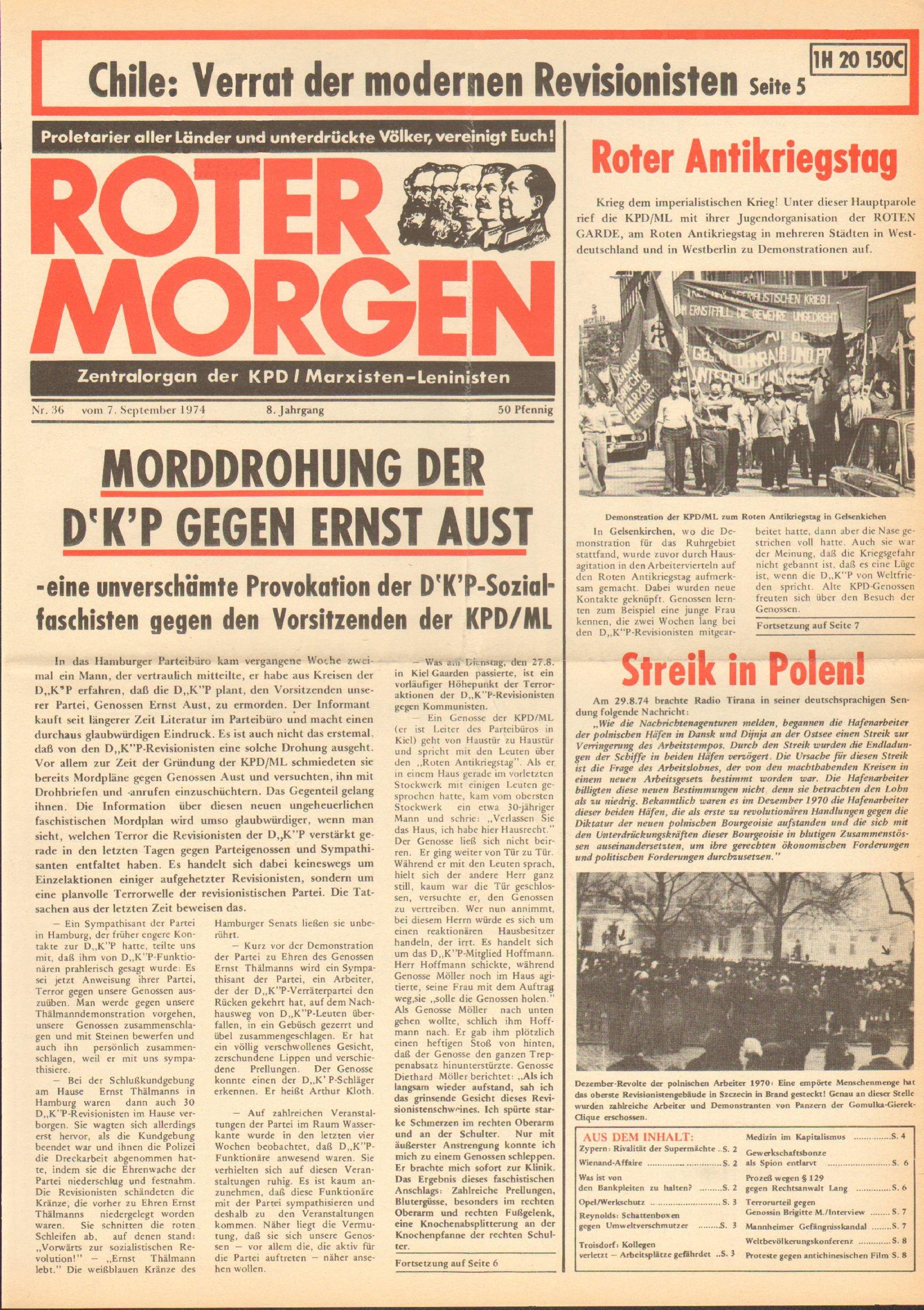 Roter Morgen, 8. Jg., 7. September 1974, Nr. 36, Seite 1