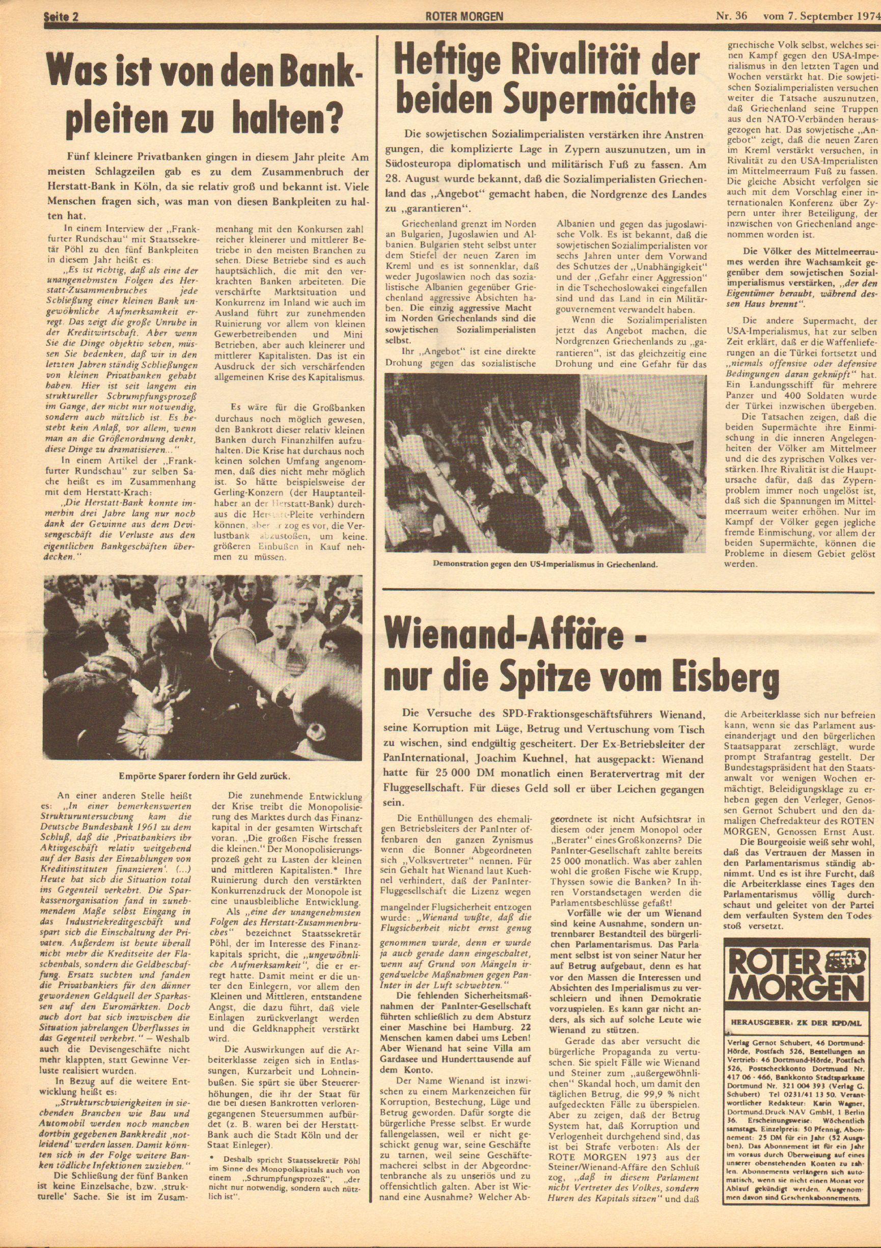 Roter Morgen, 8. Jg., 7. September 1974, Nr. 36, Seite 2