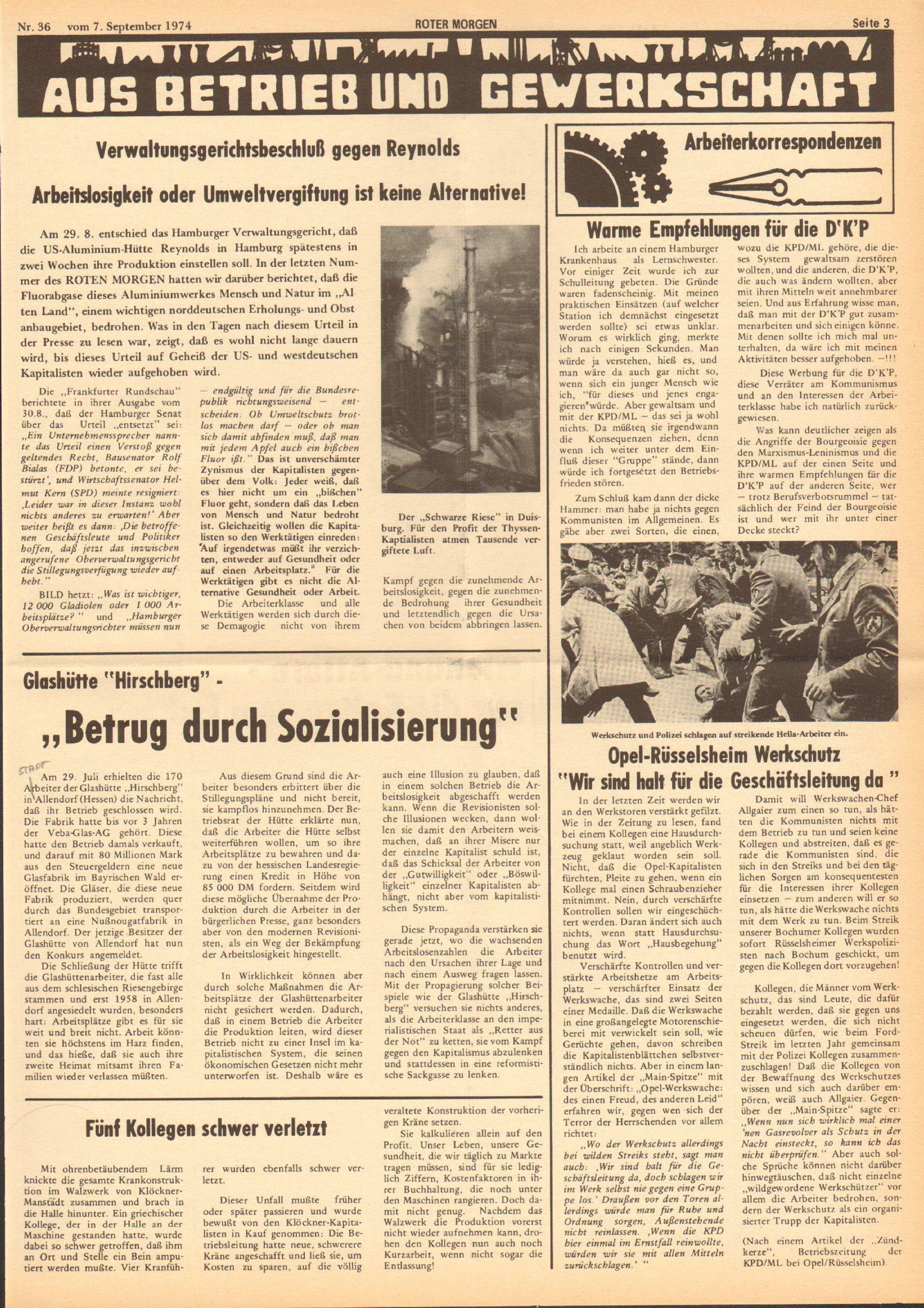Roter Morgen, 8. Jg., 7. September 1974, Nr. 36, Seite 3
