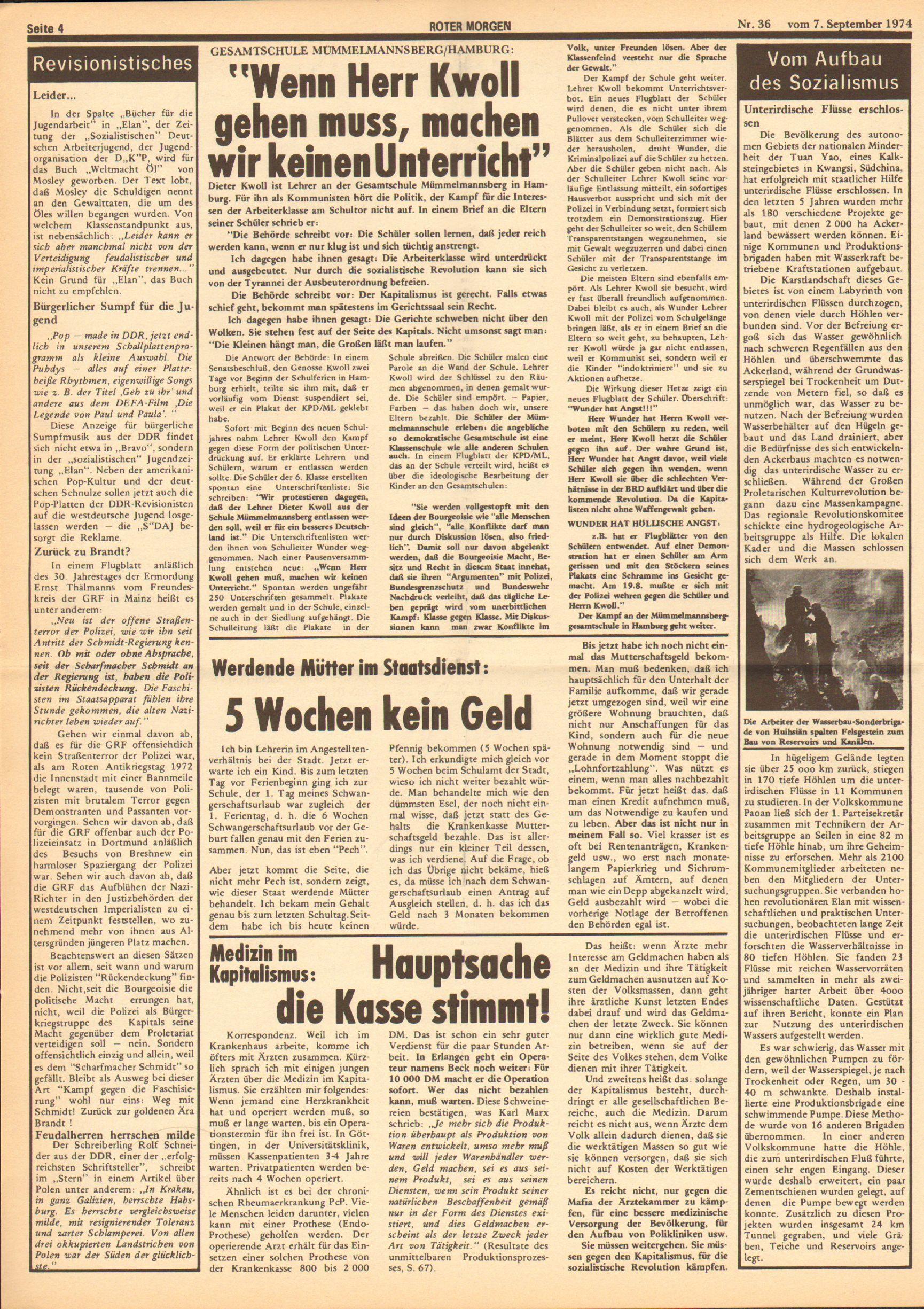 Roter Morgen, 8. Jg., 7. September 1974, Nr. 36, Seite 4