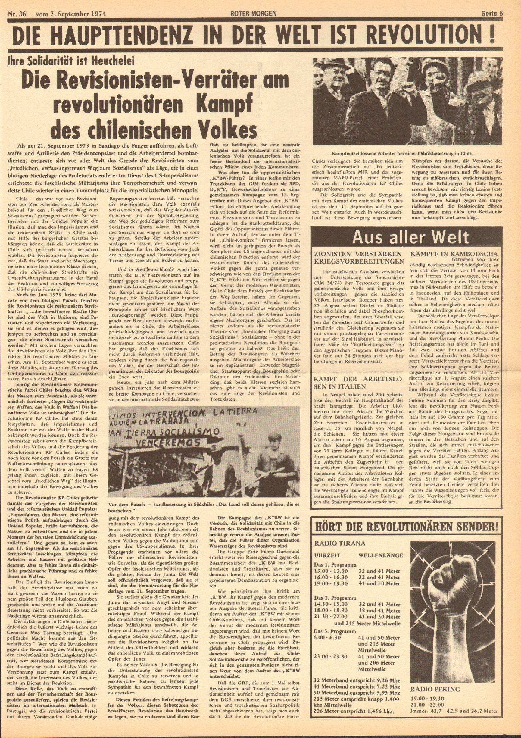 Roter Morgen, 8. Jg., 7. September 1974, Nr. 36, Seite 5