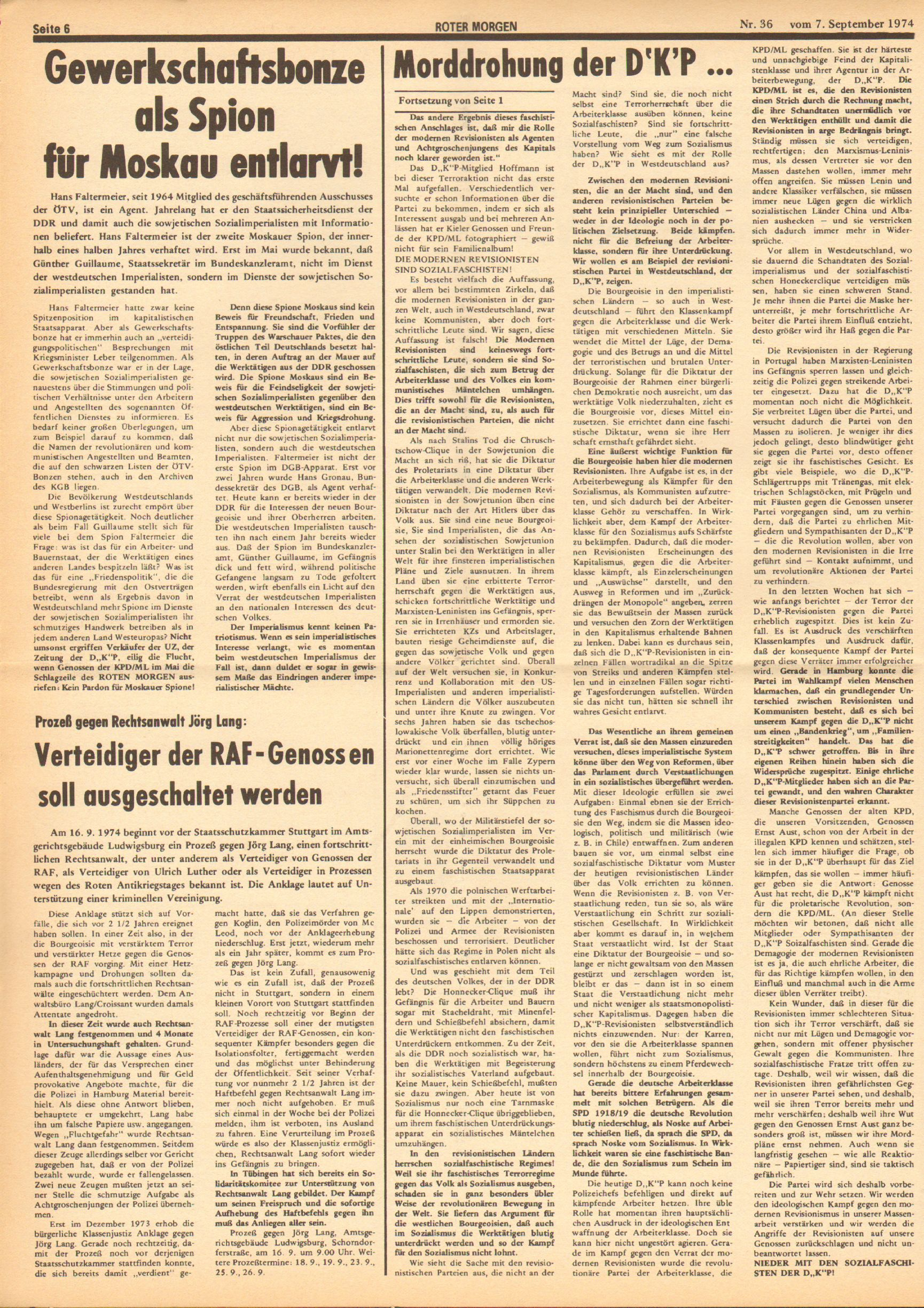 Roter Morgen, 8. Jg., 7. September 1974, Nr. 36, Seite 6