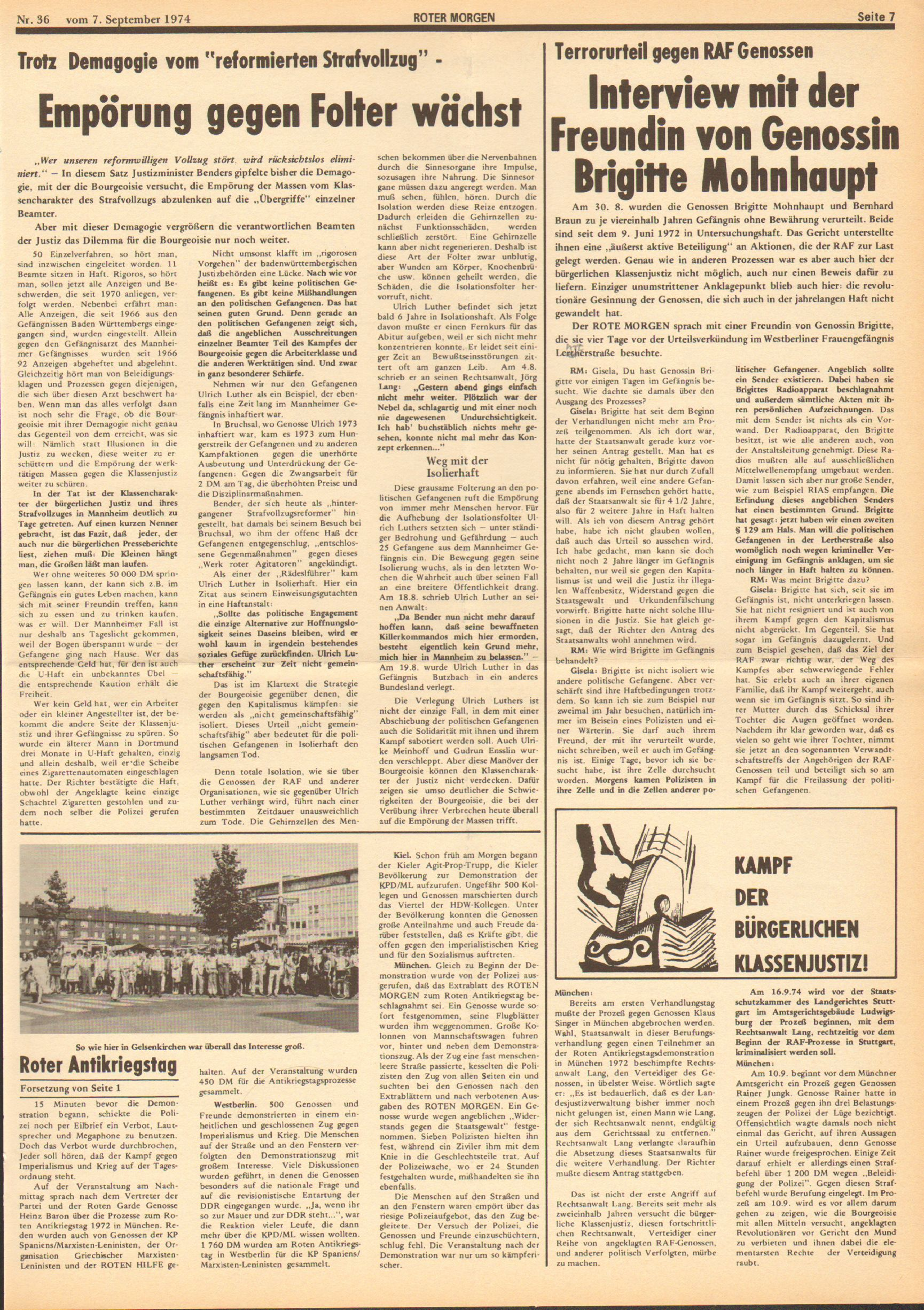 Roter Morgen, 8. Jg., 7. September 1974, Nr. 36, Seite 7