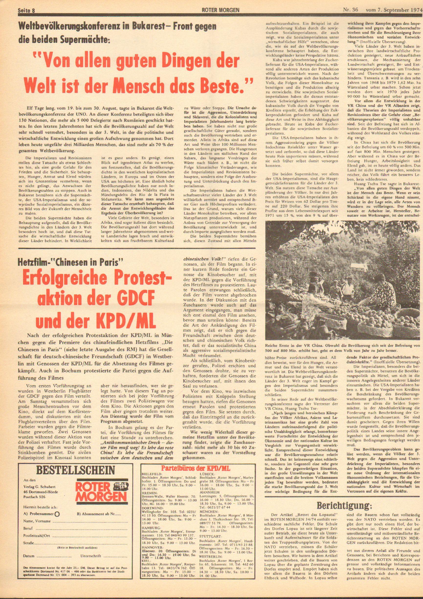 Roter Morgen, 8. Jg., 7. September 1974, Nr. 36, Seite 8