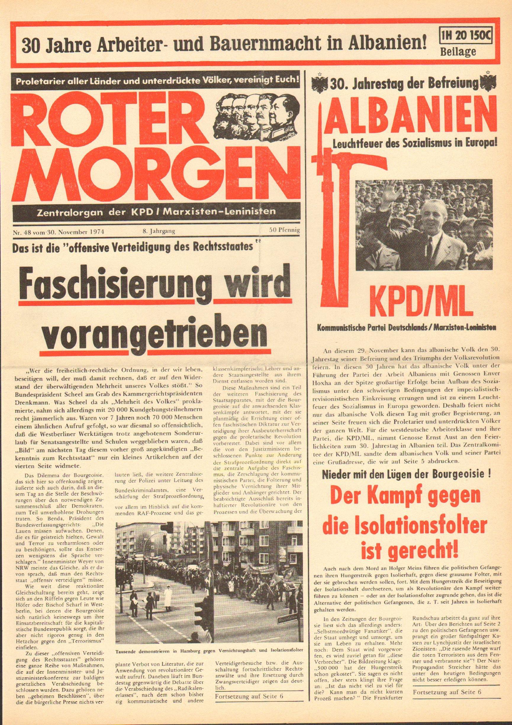 Roter Morgen, 8. Jg., 30. November 1974, Nr. 48, Seite 1