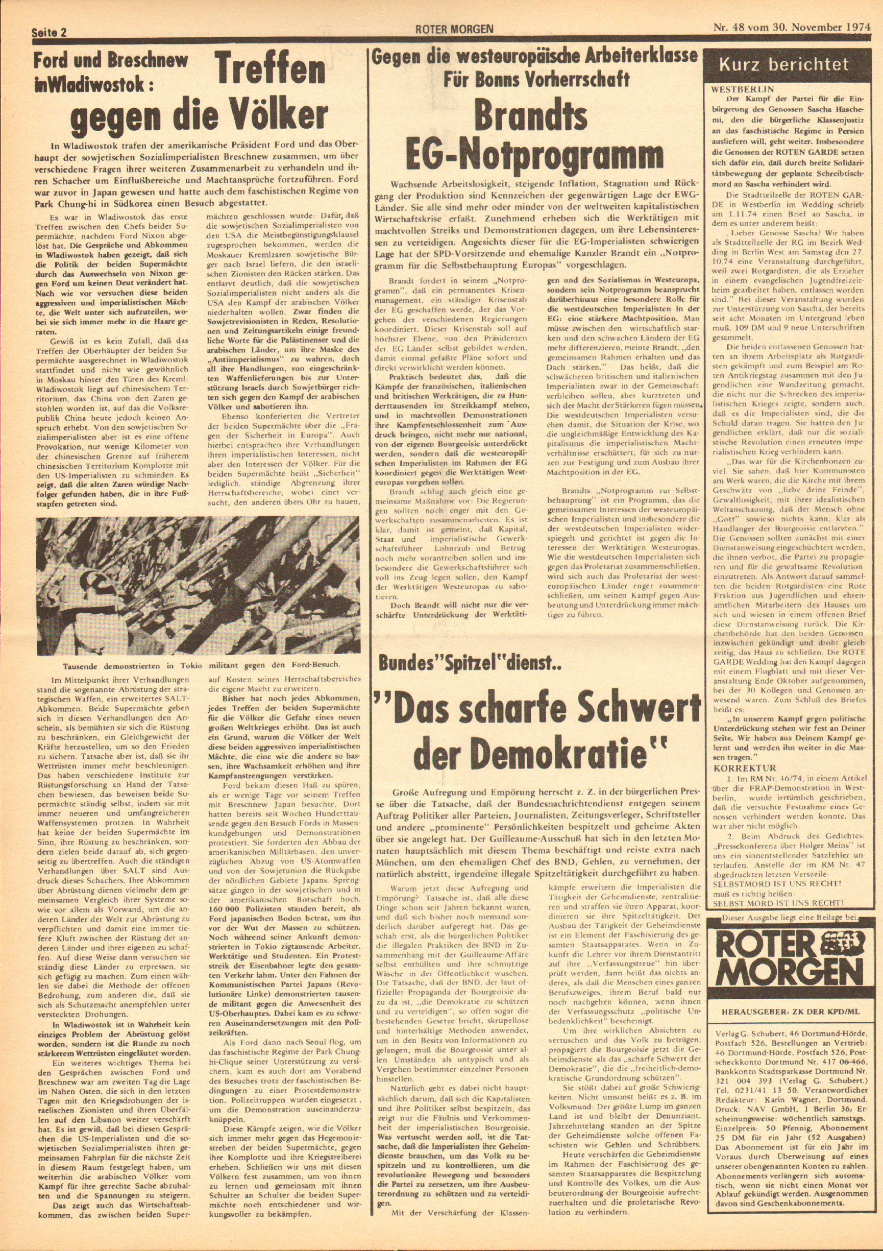 Roter Morgen, 8. Jg., 30. November 1974, Nr. 48, Seite 2