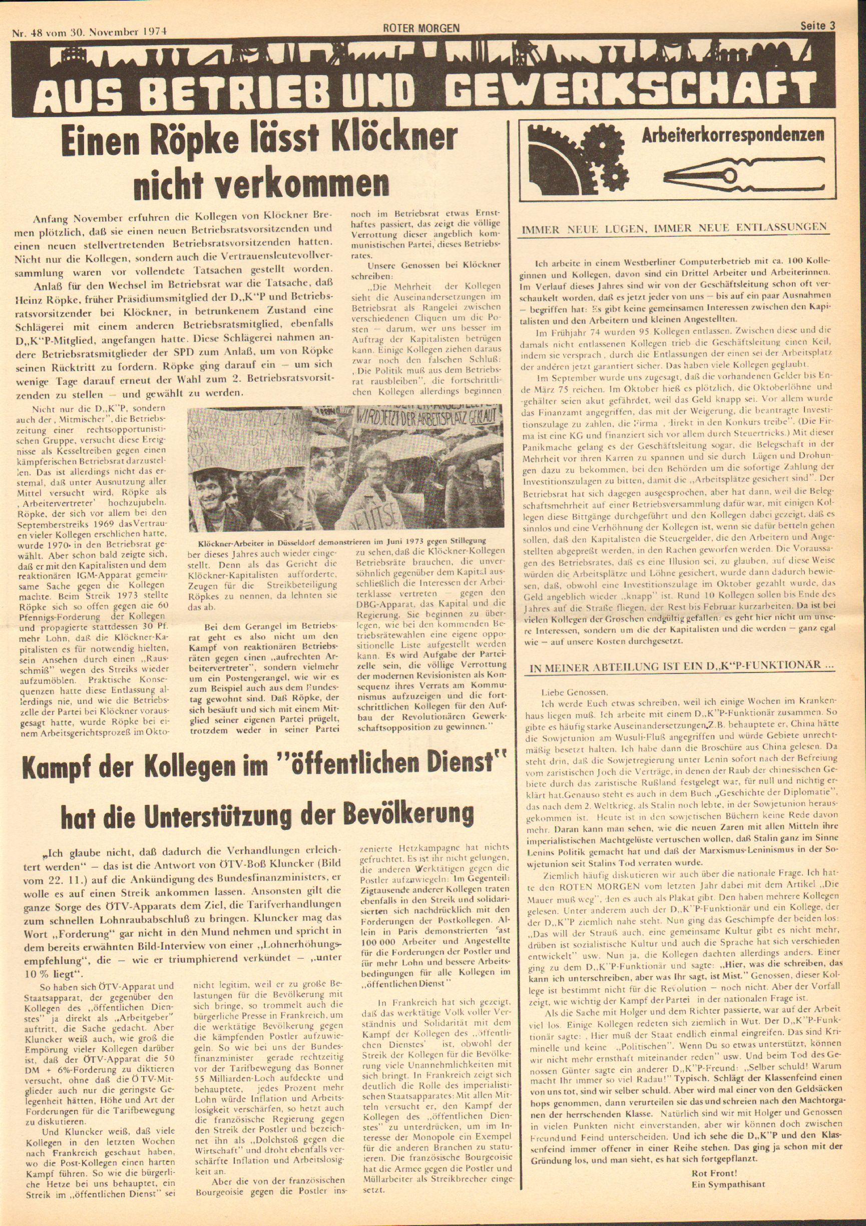 Roter Morgen, 8. Jg., 30. November 1974, Nr. 48, Seite 3