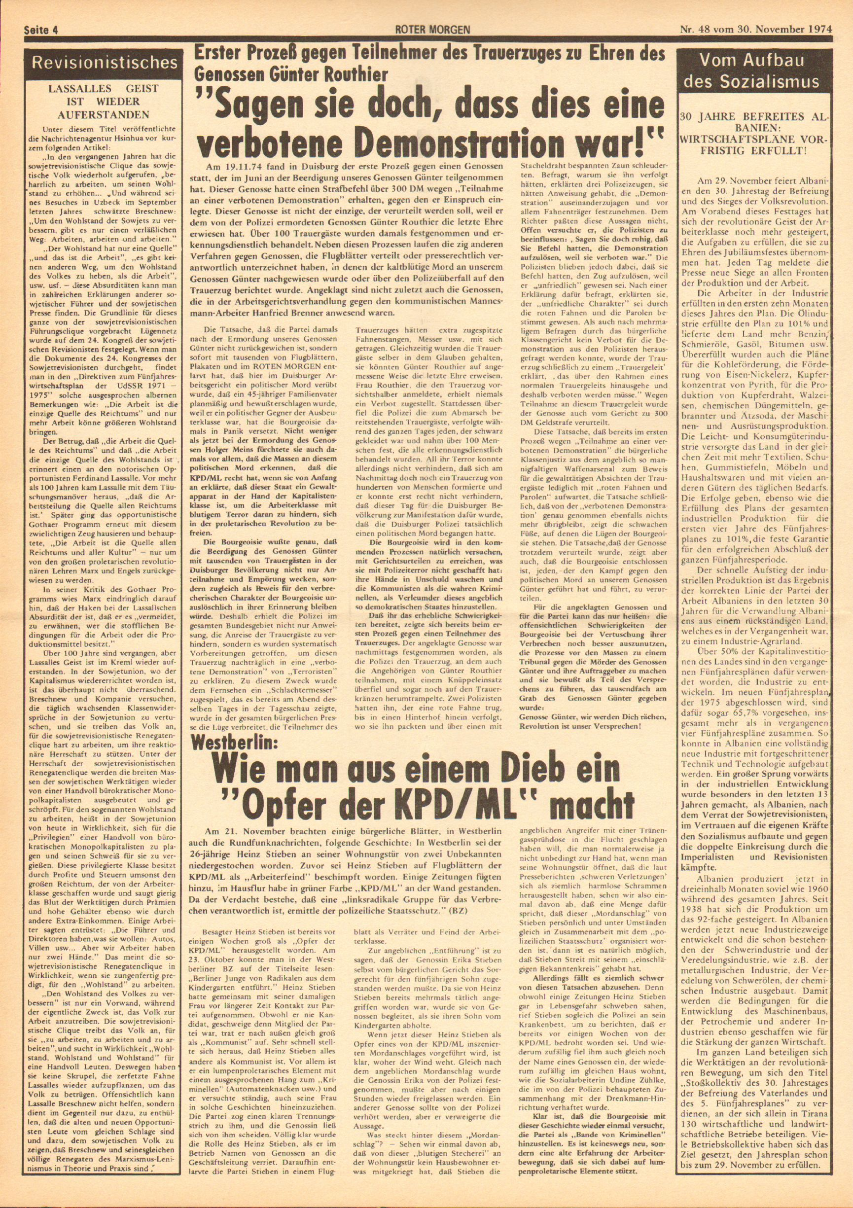 Roter Morgen, 8. Jg., 30. November 1974, Nr. 48, Seite 4