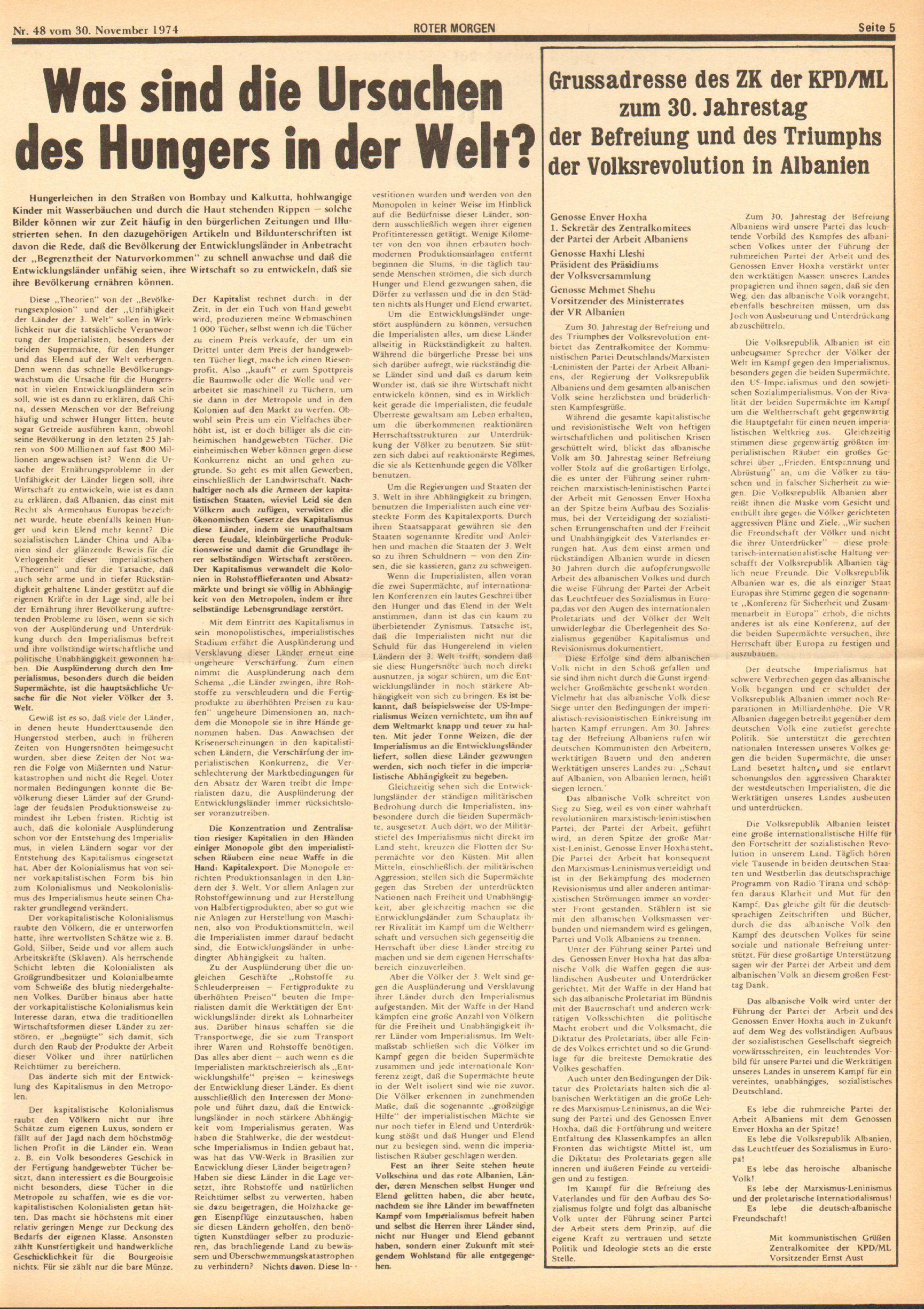 Roter Morgen, 8. Jg., 30. November 1974, Nr. 48, Seite 5
