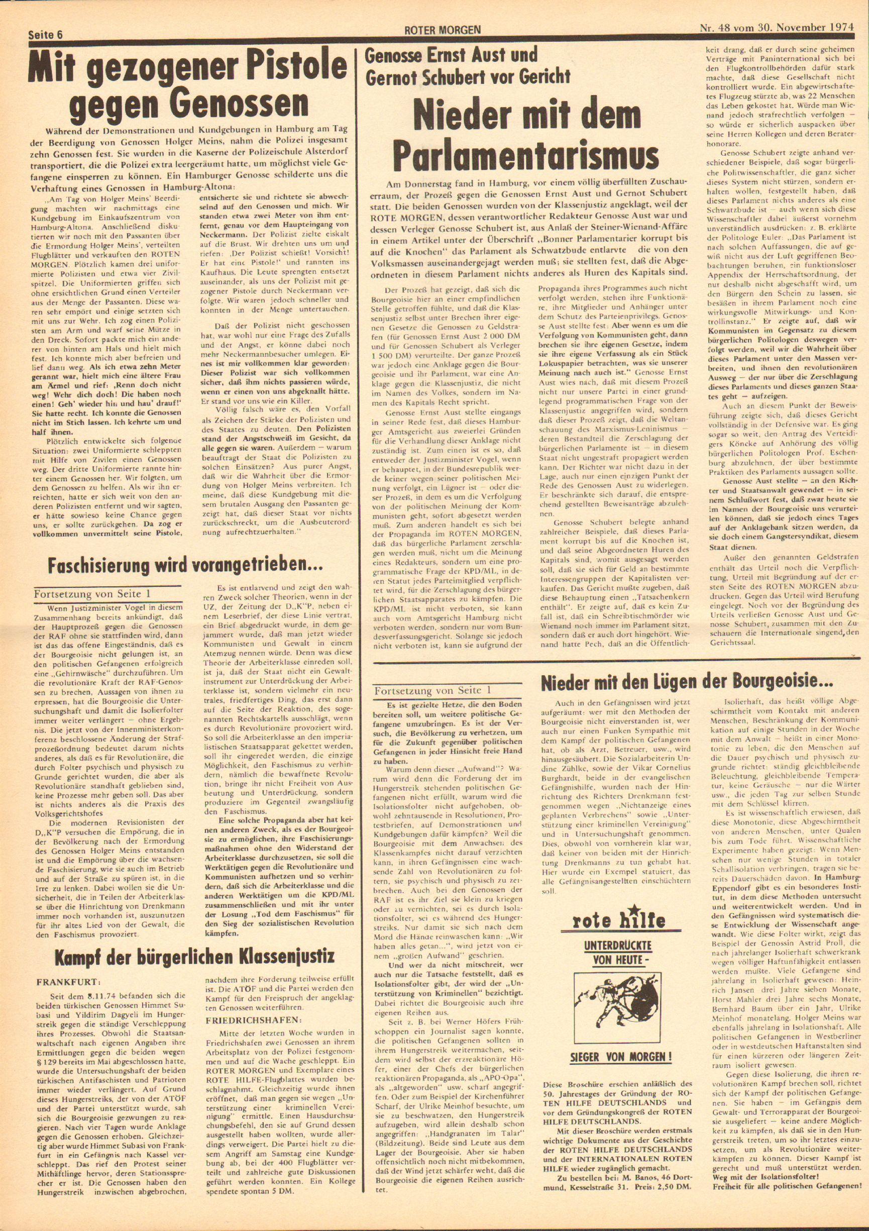 Roter Morgen, 8. Jg., 30. November 1974, Nr. 48, Seite 6