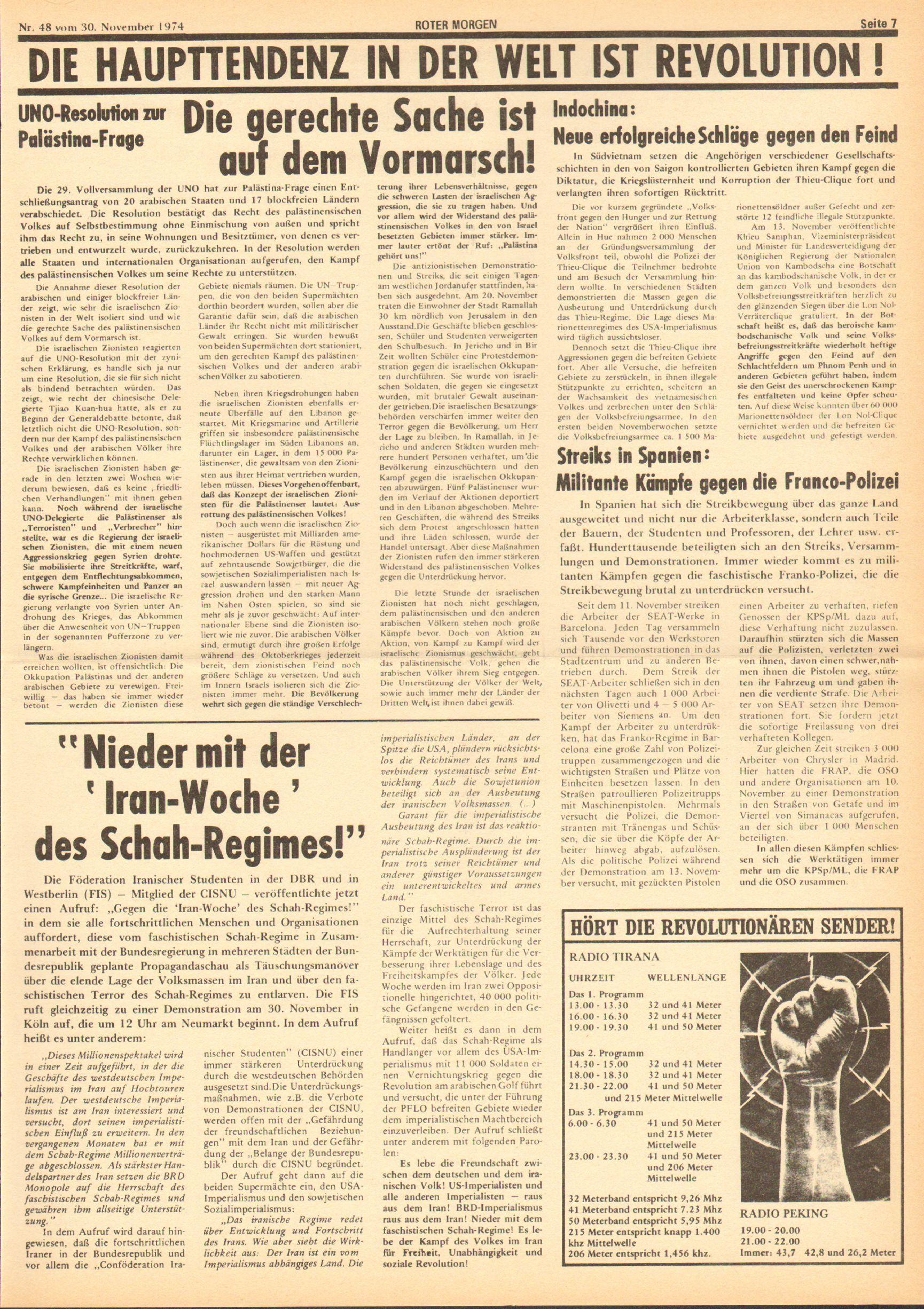 Roter Morgen, 8. Jg., 30. November 1974, Nr. 48, Seite 7