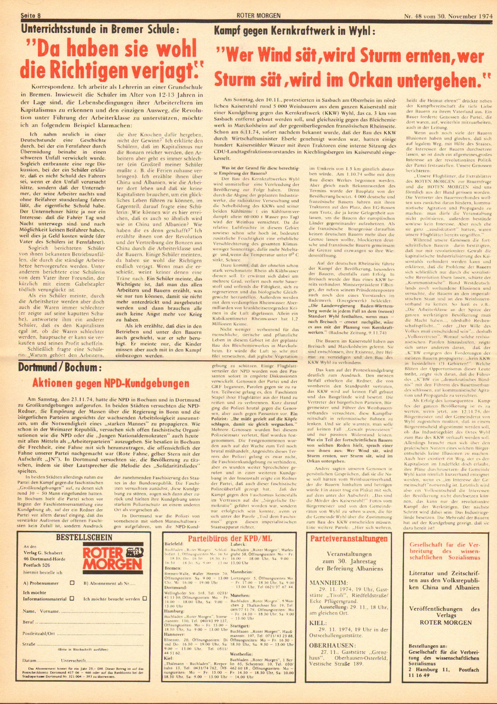 Roter Morgen, 8. Jg., 30. November 1974, Nr. 48, Seite 8