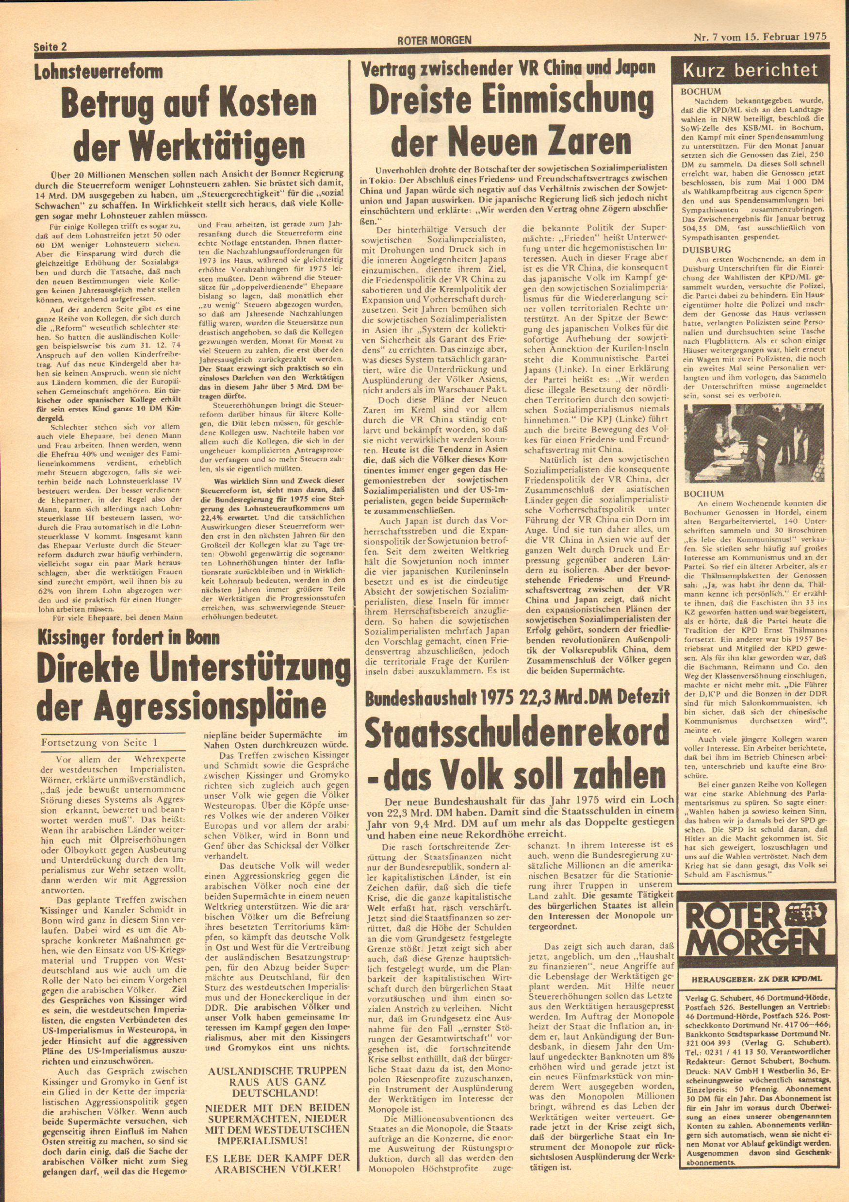 Roter Morgen, 9. Jg., 15. Februar 1975, Nr. 7, Seite 2