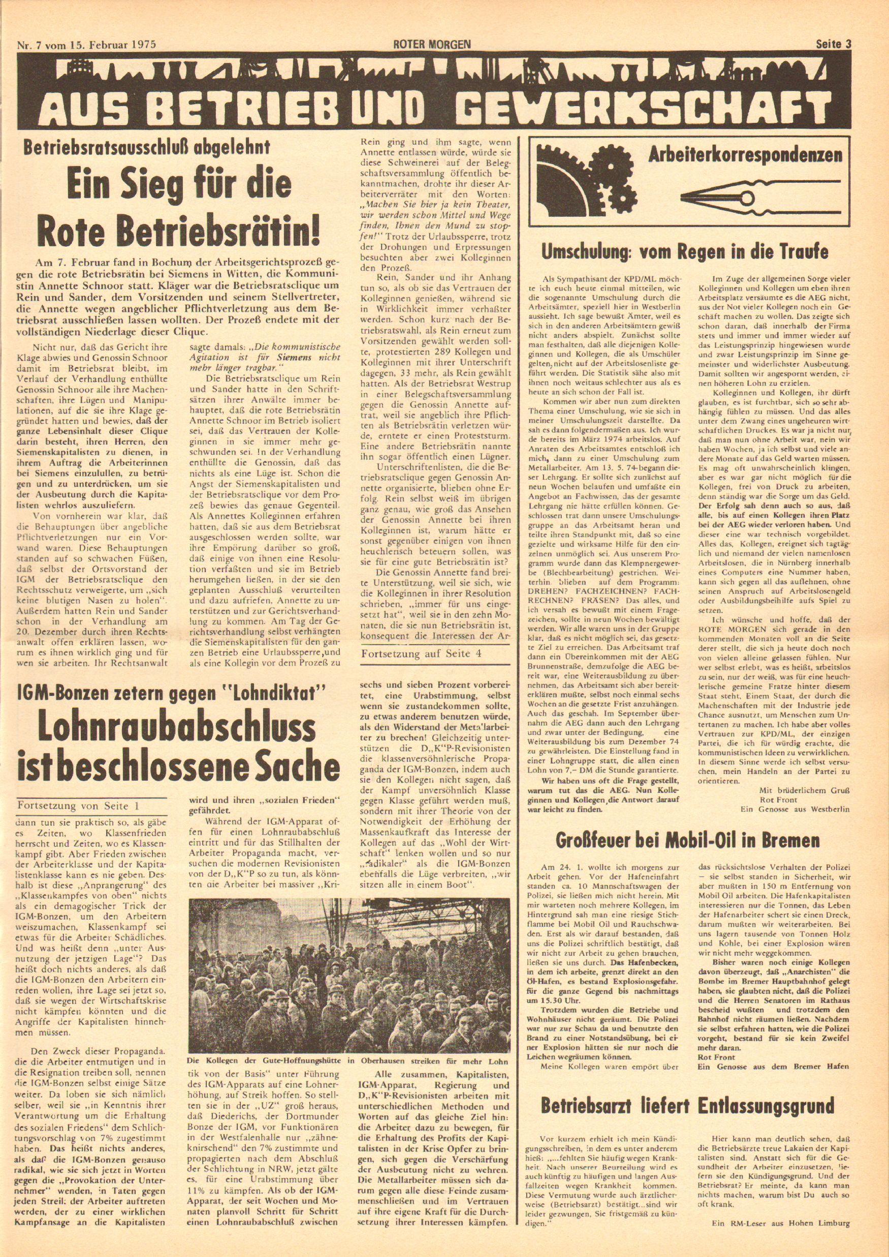 Roter Morgen, 9. Jg., 15. Februar 1975, Nr. 7, Seite 3