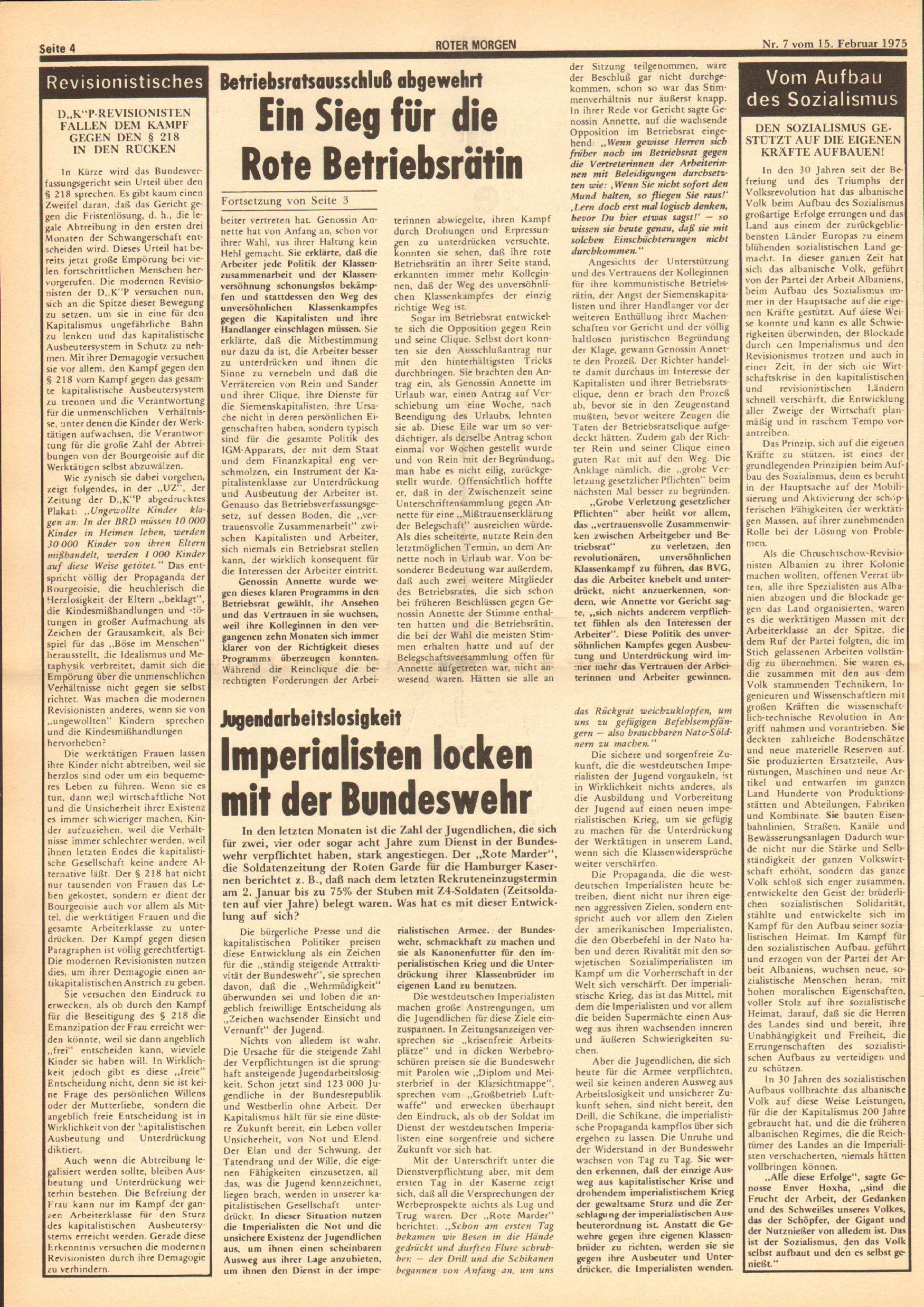 Roter Morgen, 9. Jg., 15. Februar 1975, Nr. 7, Seite 4