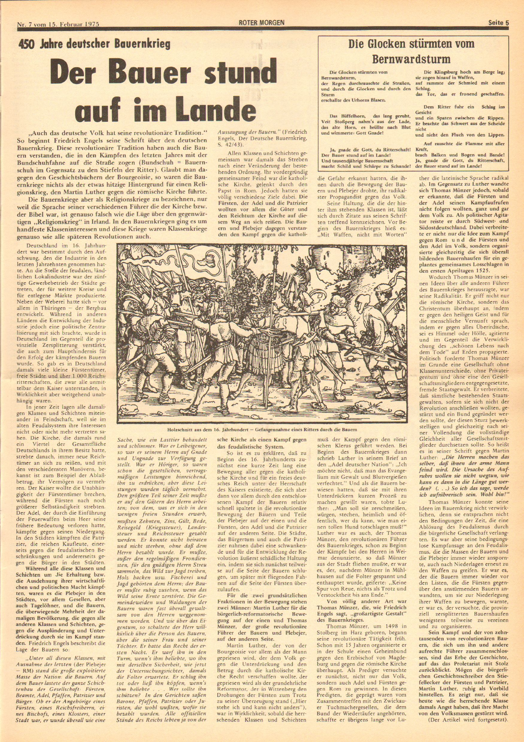 Roter Morgen, 9. Jg., 15. Februar 1975, Nr. 7, Seite 5