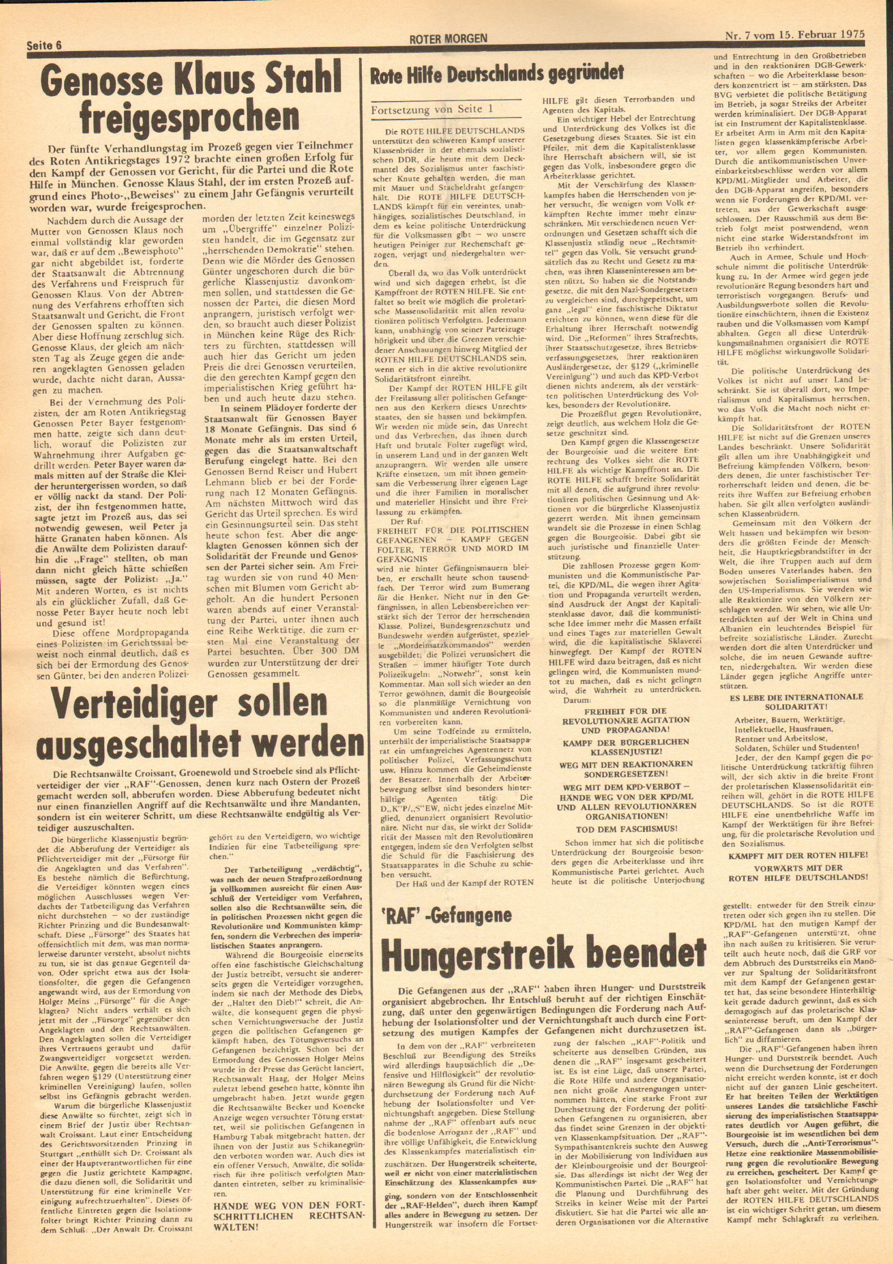 Roter Morgen, 9. Jg., 15. Februar 1975, Nr. 7, Seite 6