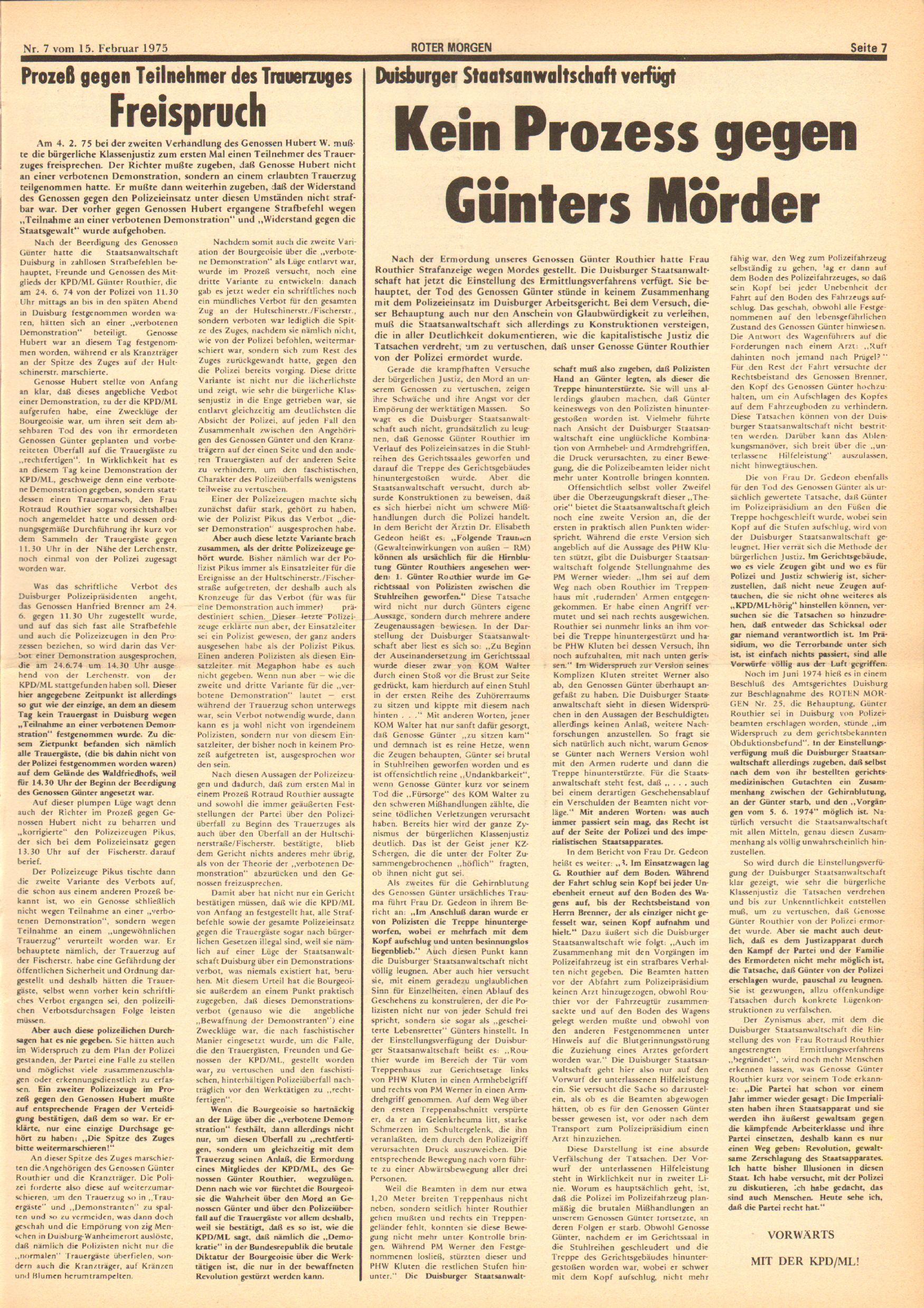 Roter Morgen, 9. Jg., 15. Februar 1975, Nr. 7, Seite 7