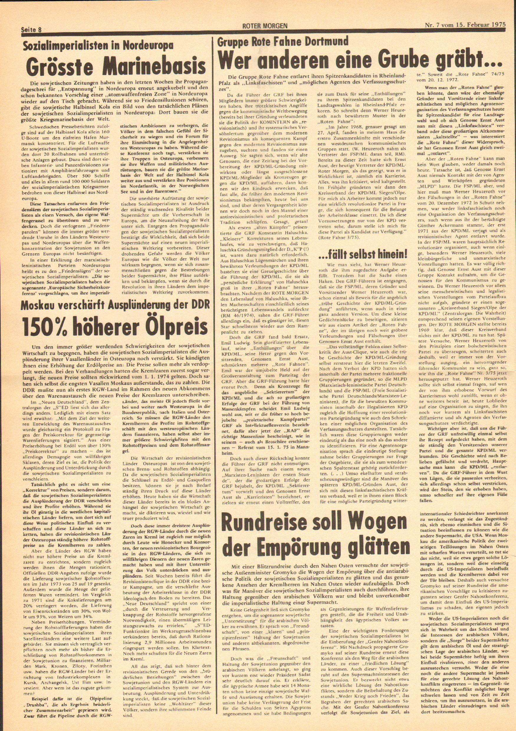Roter Morgen, 9. Jg., 15. Februar 1975, Nr. 7, Seite 8