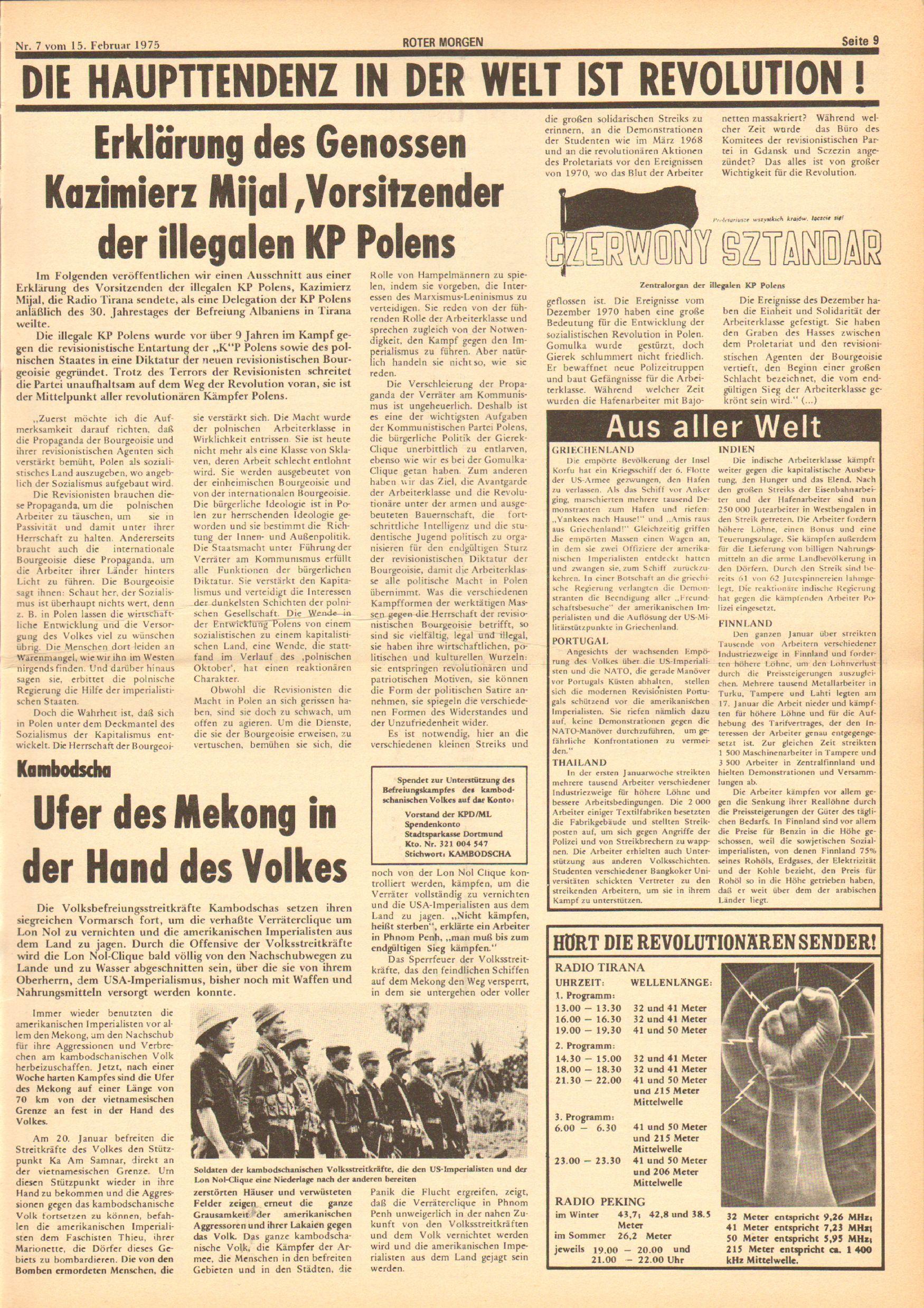 Roter Morgen, 9. Jg., 15. Februar 1975, Nr. 7, Seite 9