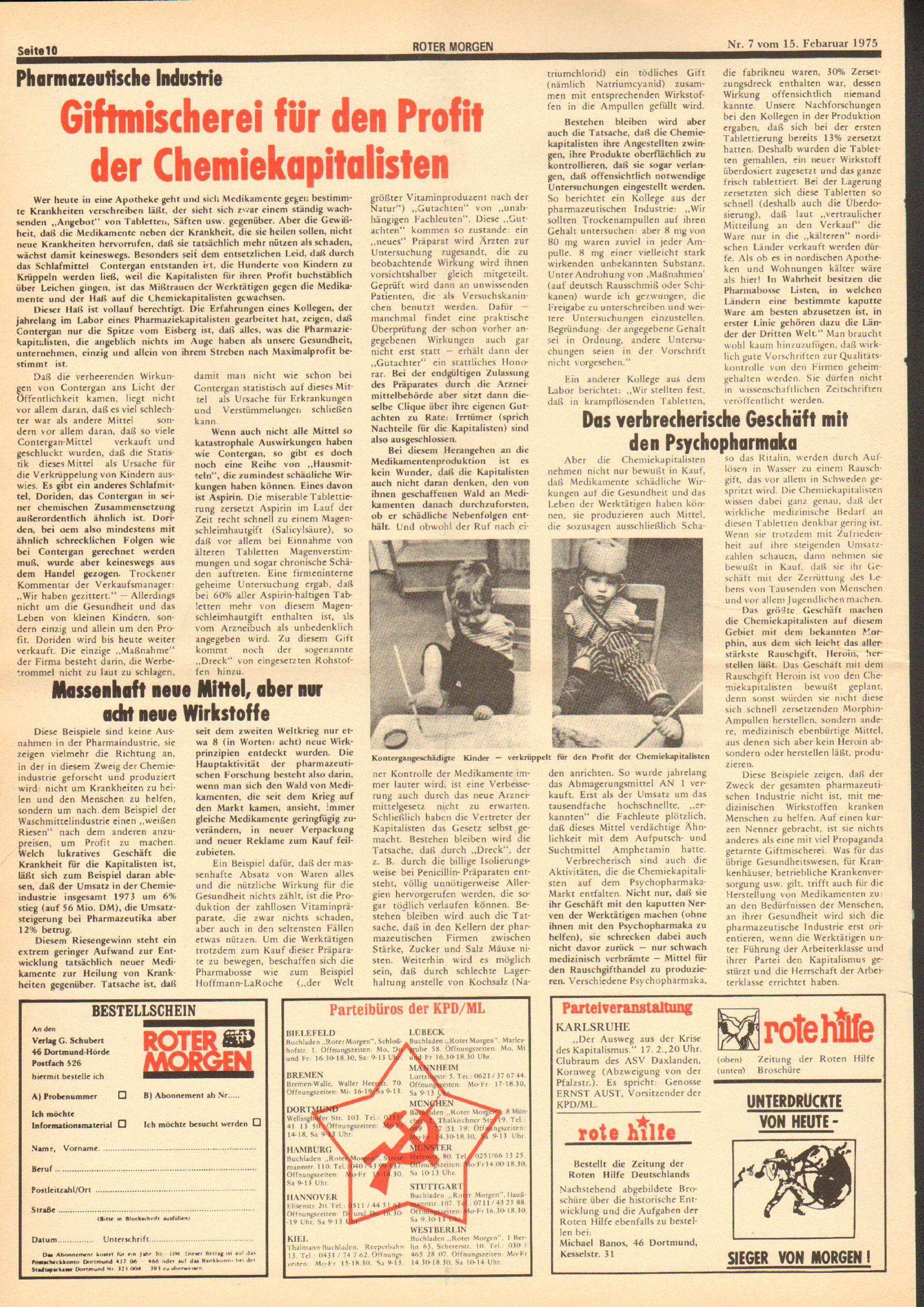 Roter Morgen, 9. Jg., 15. Februar 1975, Nr. 7, Seite 10