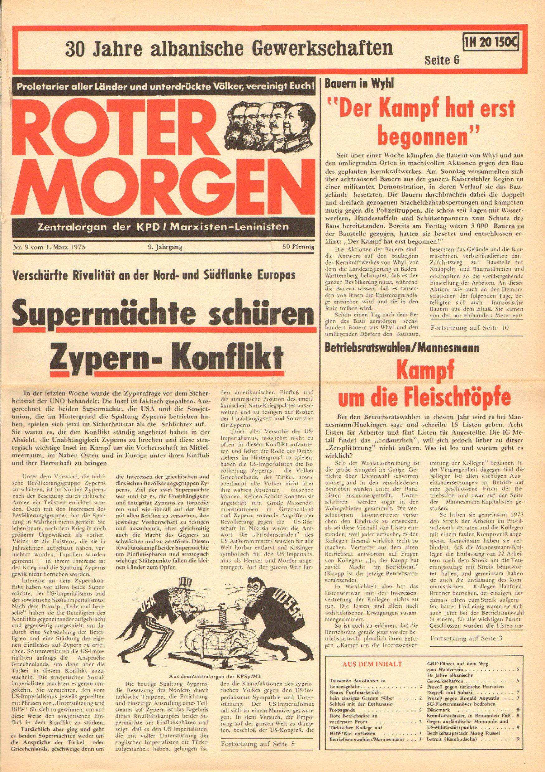 Roter Morgen, 9. Jg., 1. März 1975, Nr. 9, Seite 1