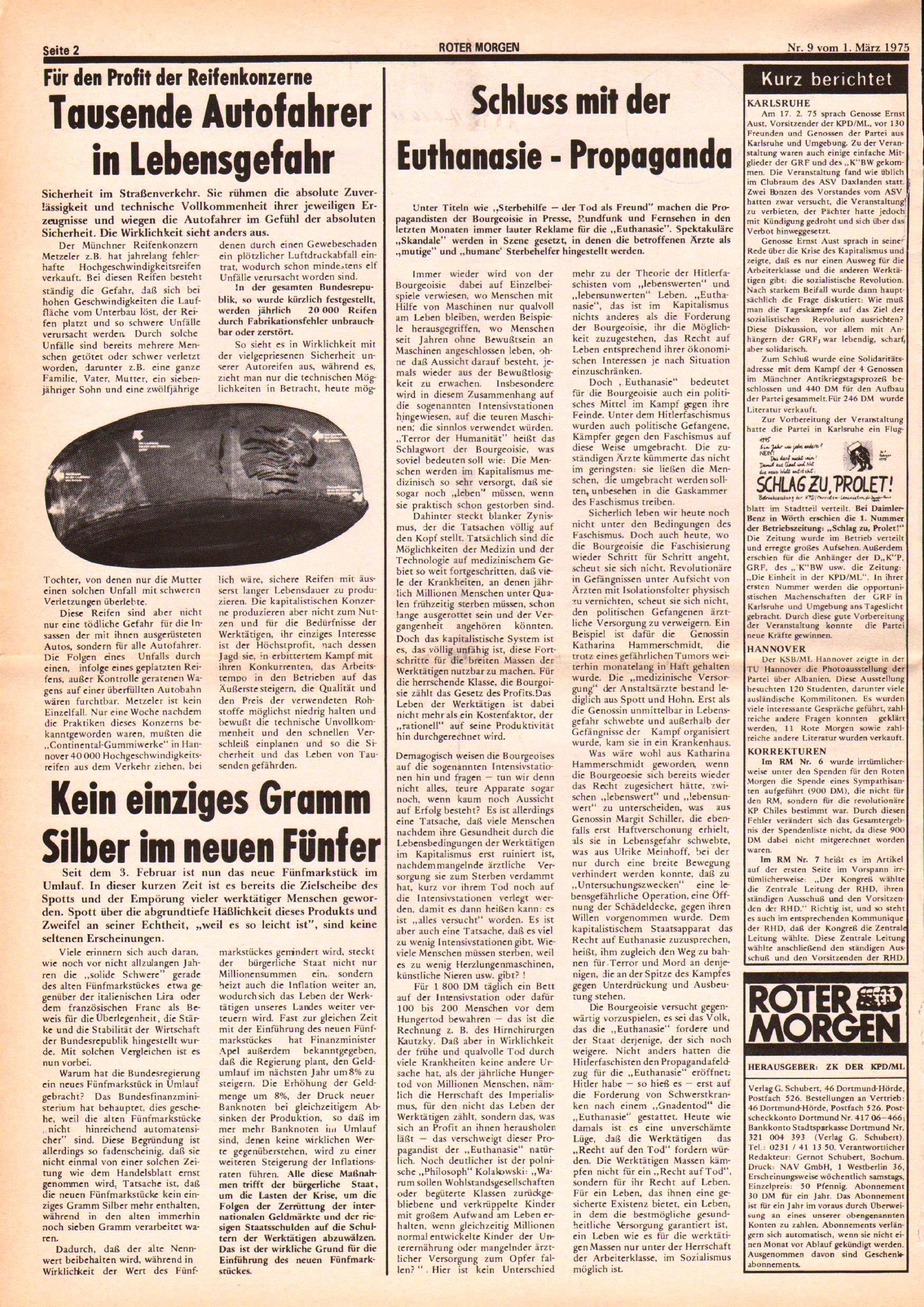 Roter Morgen, 9. Jg., 1. März 1975, Nr. 9, Seite 2