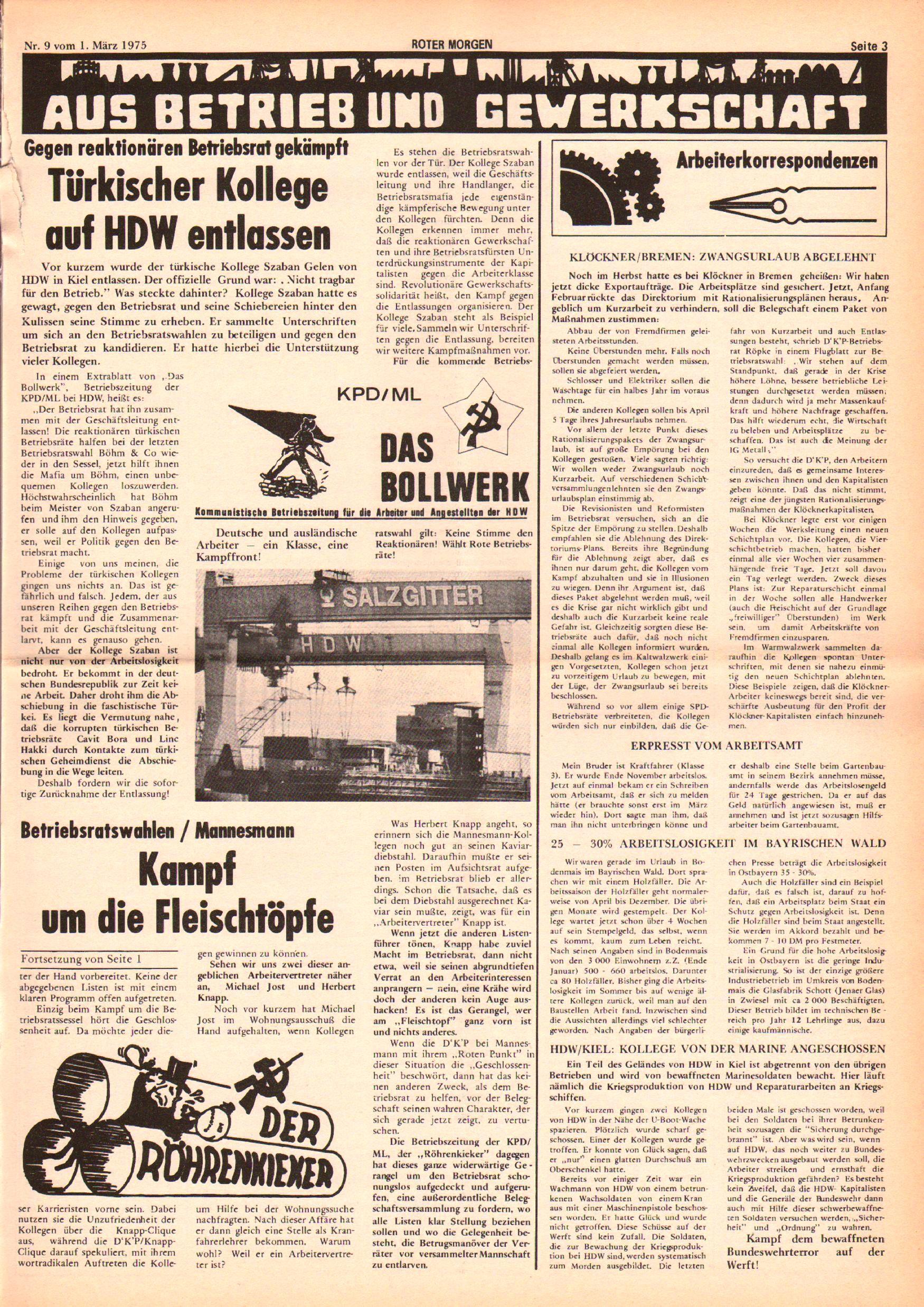 Roter Morgen, 9. Jg., 1. März 1975, Nr. 9, Seite 3