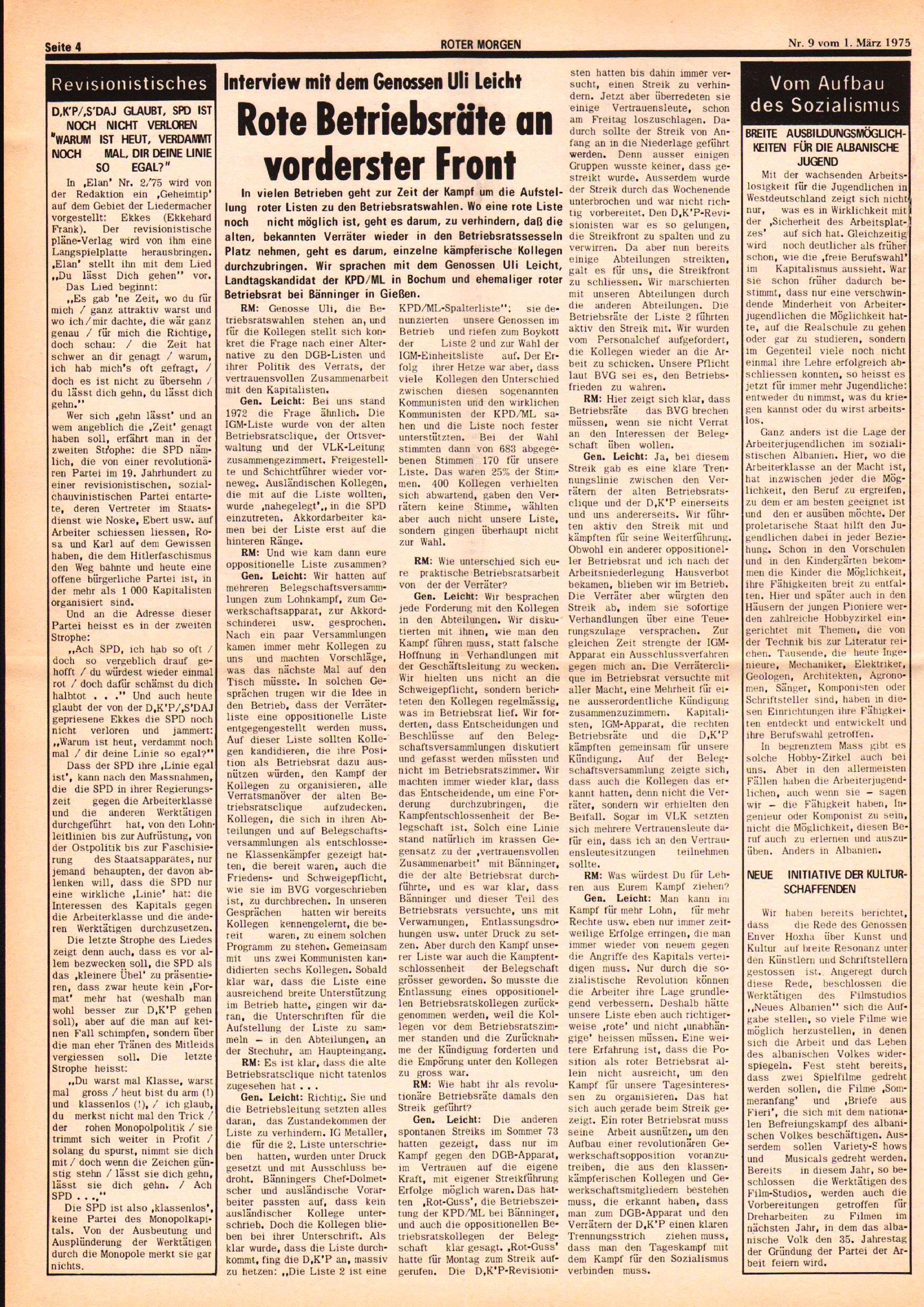 Roter Morgen, 9. Jg., 1. März 1975, Nr. 9, Seite 4